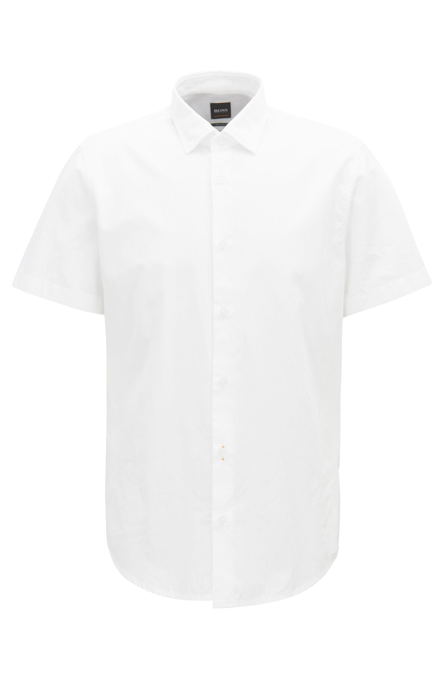 Regular-fit washed cotton shirt with dobby contrasts, White