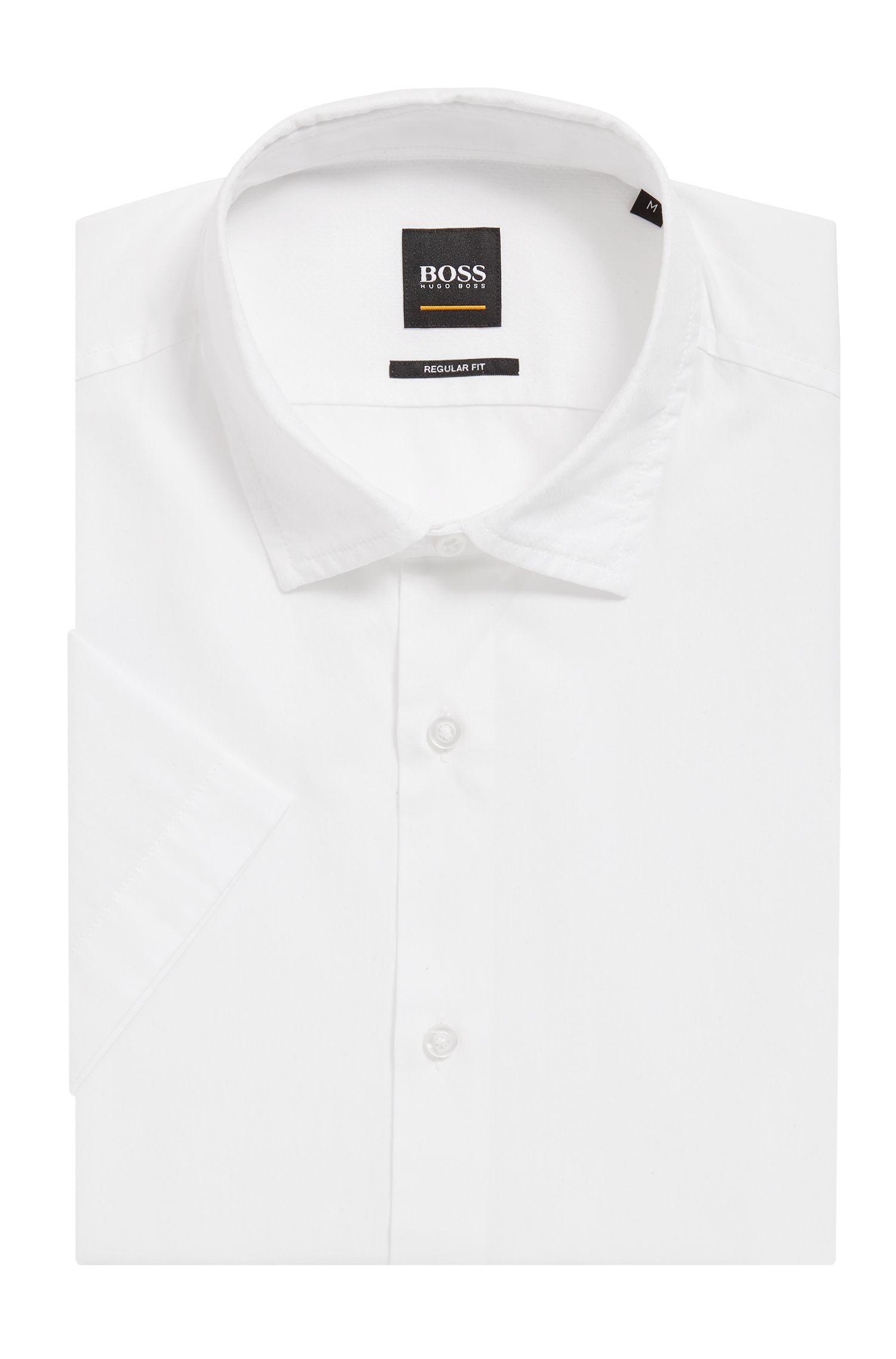 Camicia regular fit in cotone lavato con contrasti in tessuto dobby