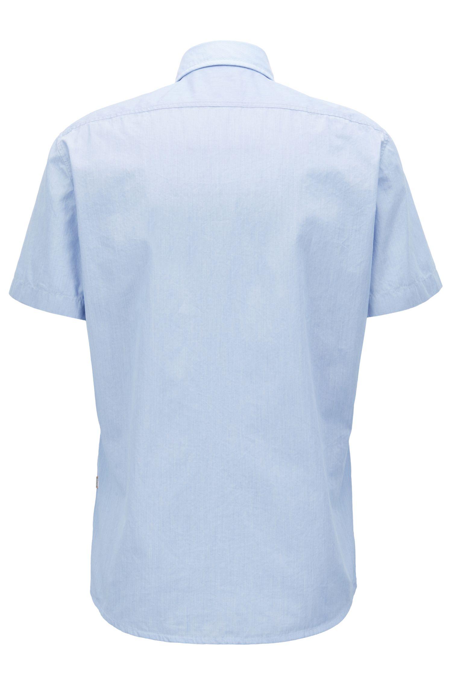 Camicia regular fit in cotone lavato con contrasti in tessuto dobby, Celeste