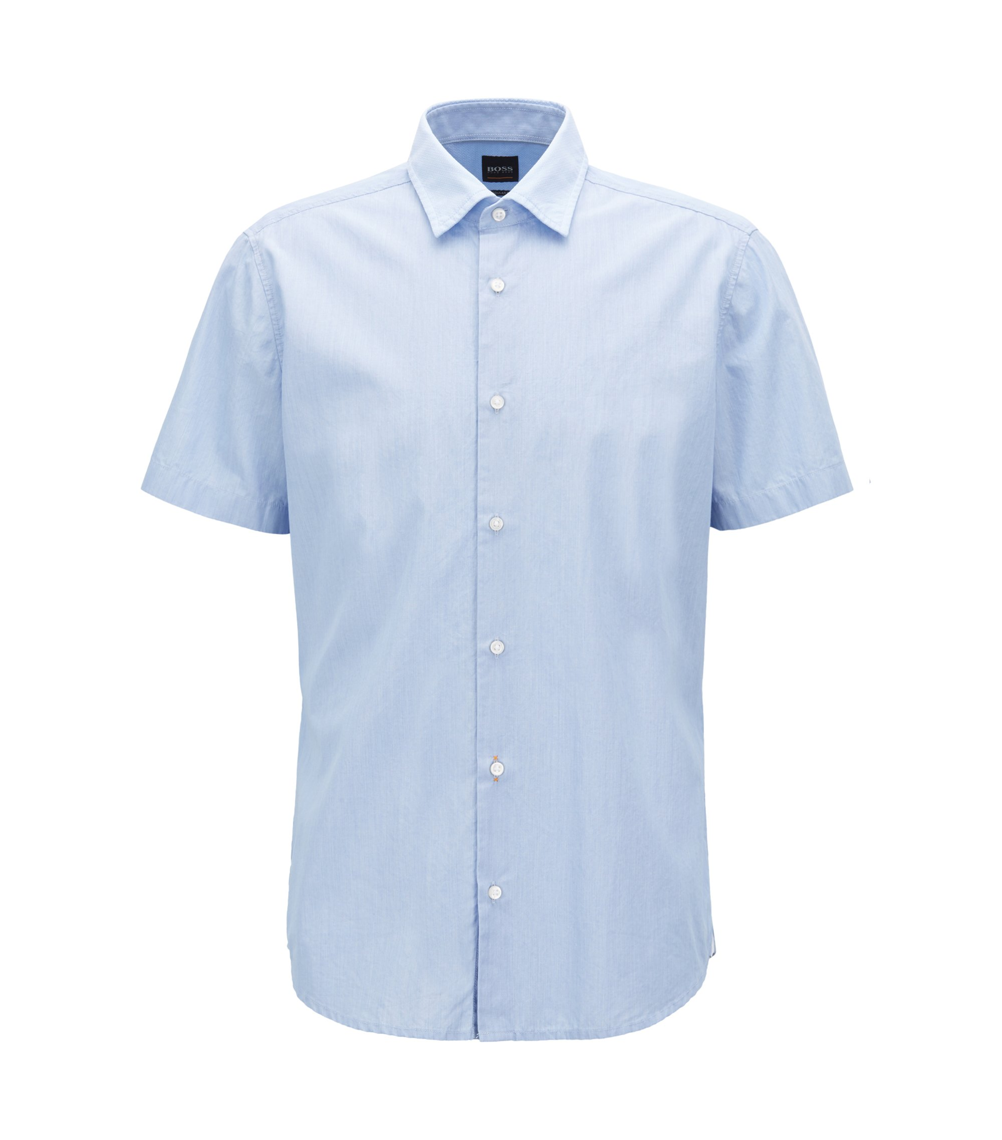Regular-fit washed cotton shirt with dobby contrasts, Light Blue
