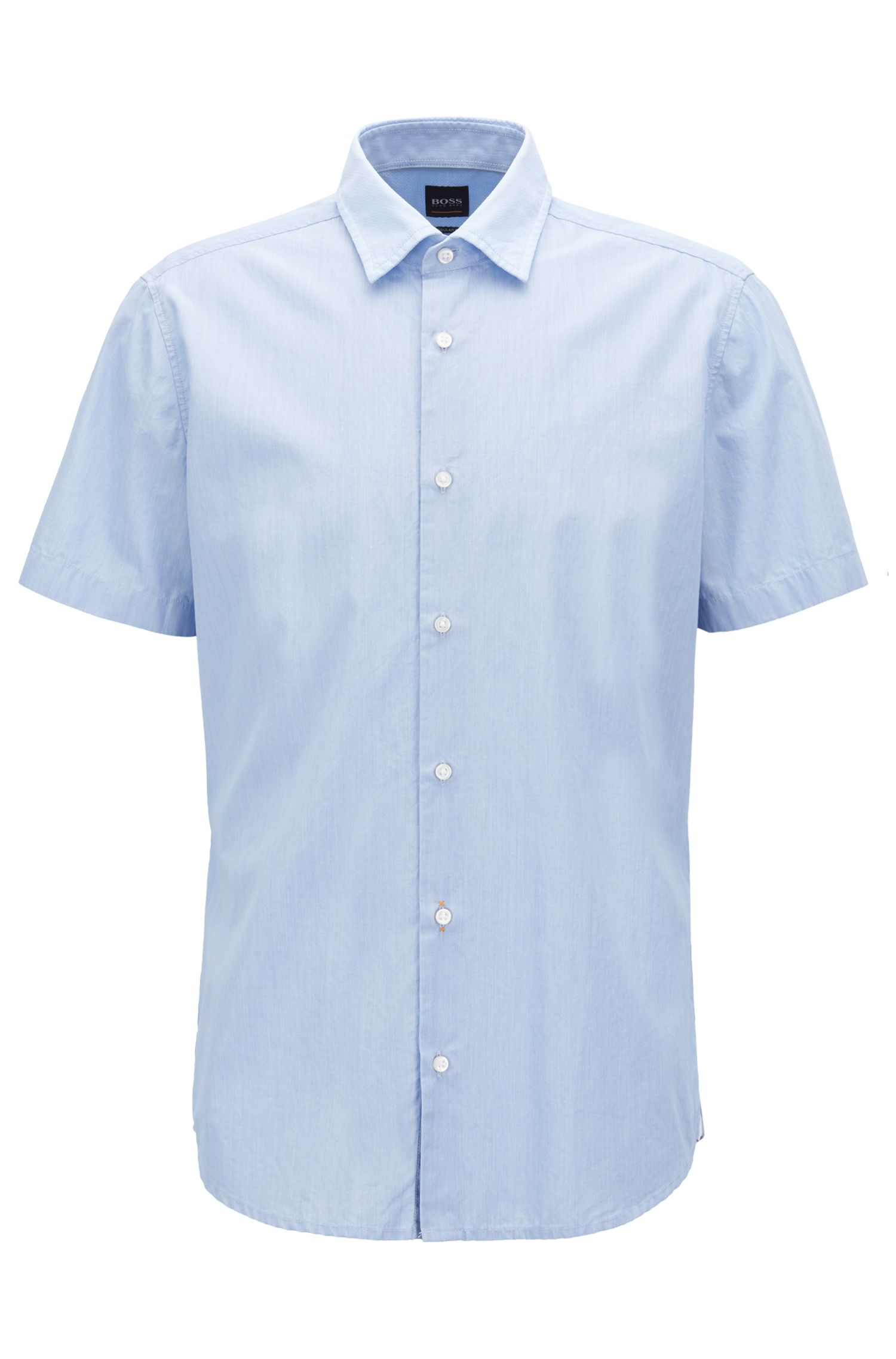 Hugo Boss - Regular-fit washed cotton shirt with dobby contrasts - 1