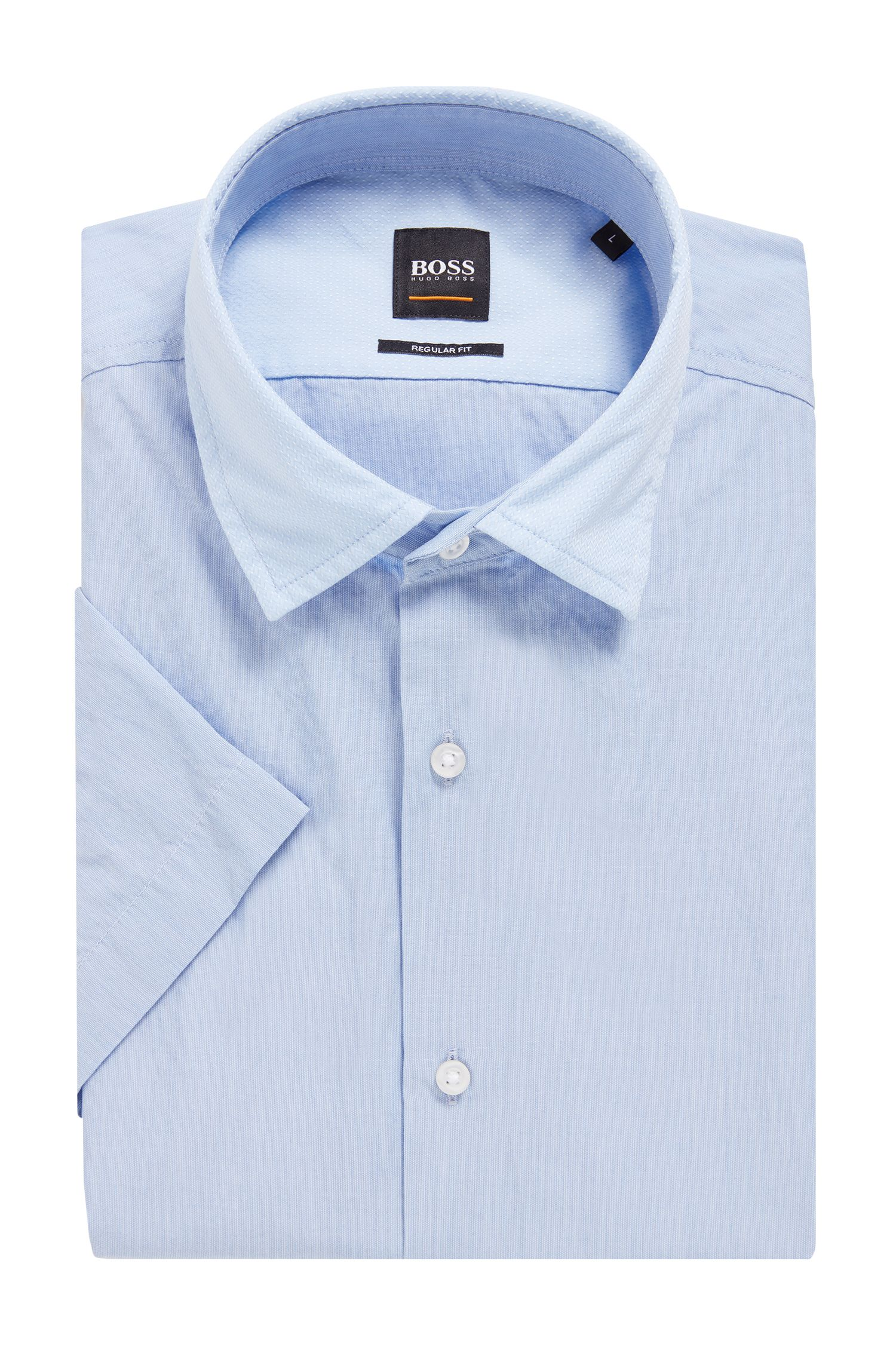 Hugo Boss - Regular-fit washed cotton shirt with dobby contrasts - 4