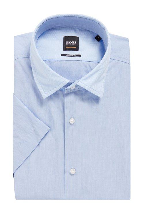 Hugo Boss - Regular-Fit Kurzarm-Hemd aus Baumwolle mit strukturierten Kontrast-Details - 4