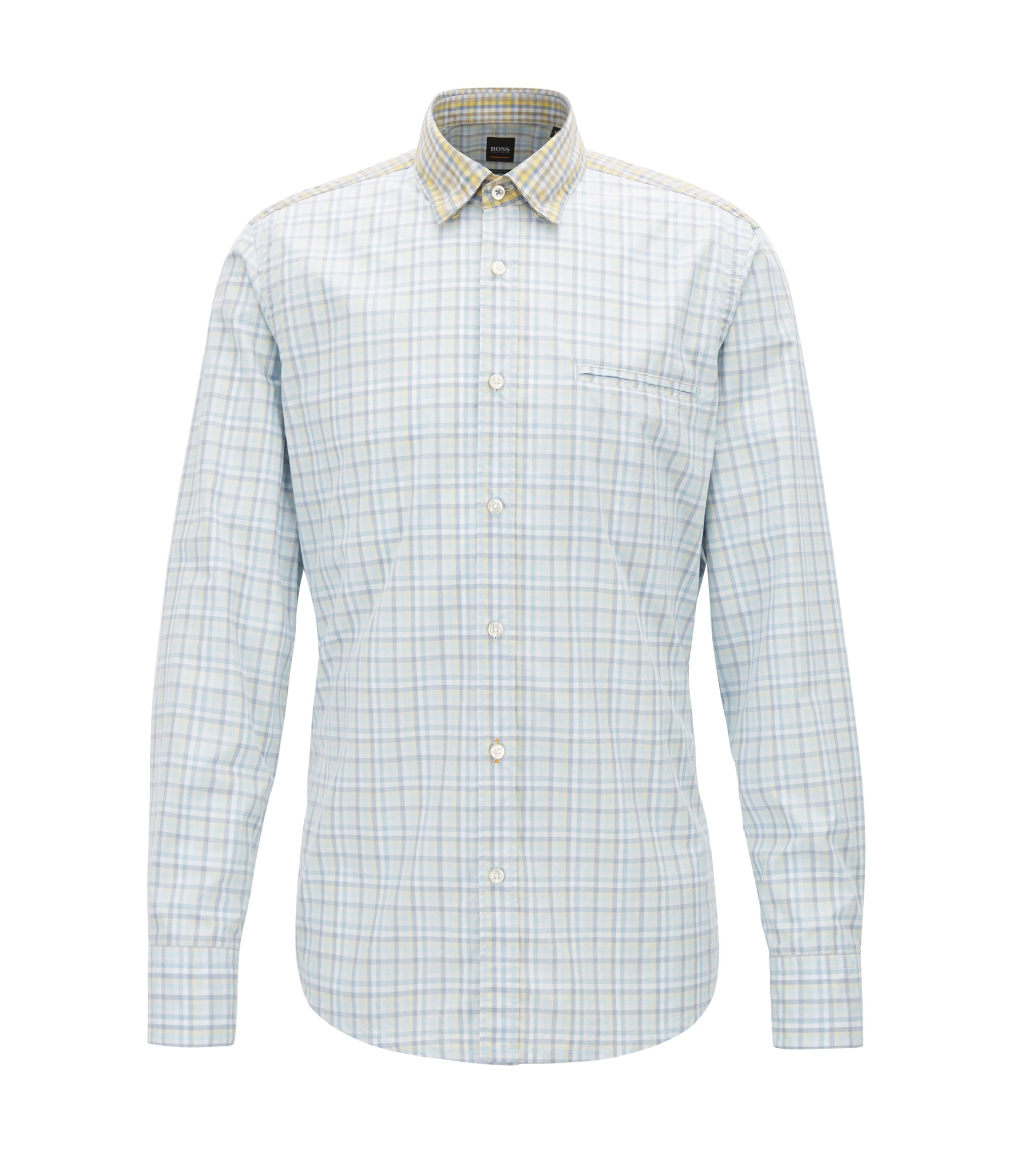 Regular-fit shirt in cotton with Vichy check, Beige