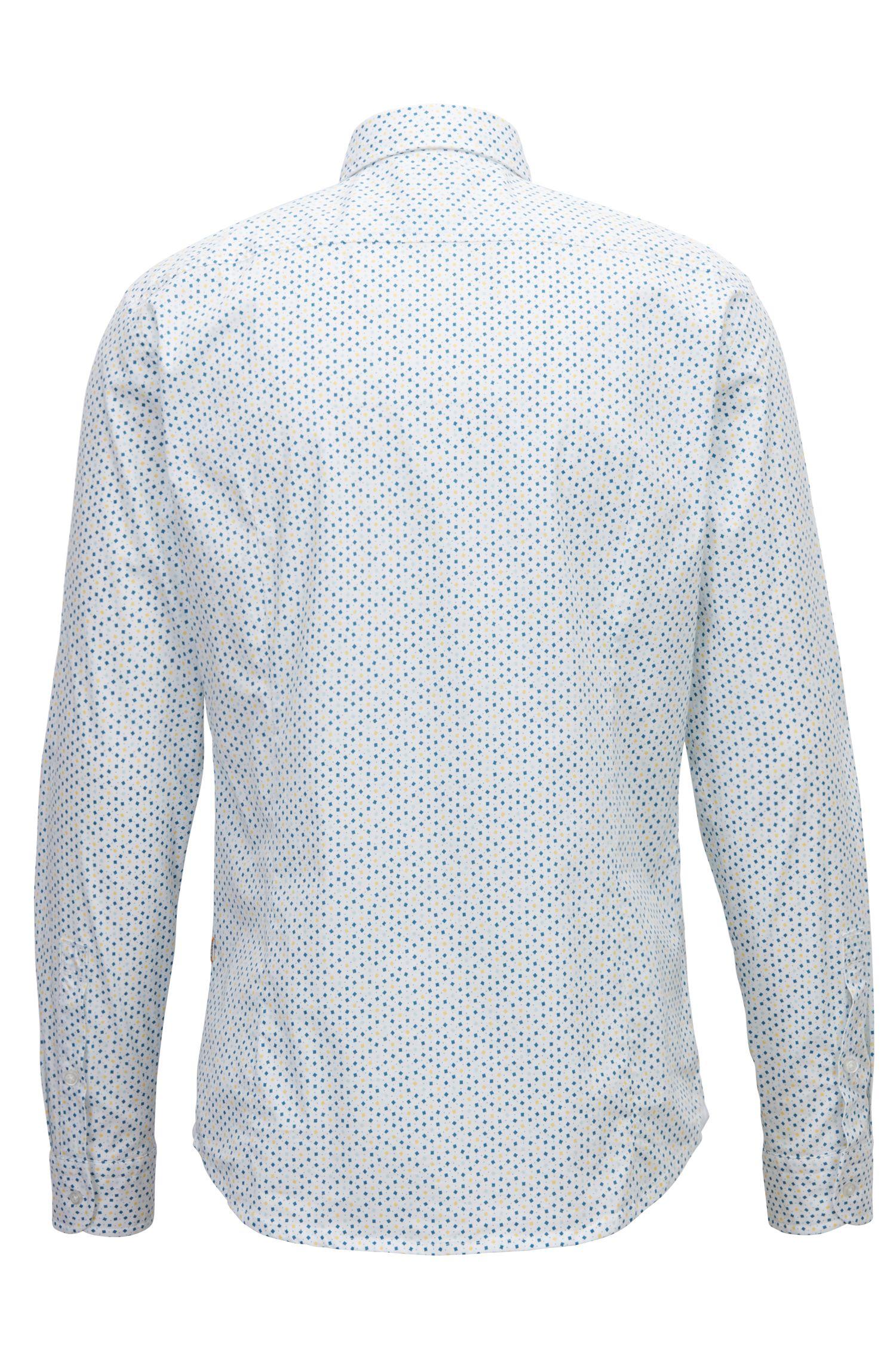 Slim-fit overhemd van stretchkatoen met kleine geometrische print