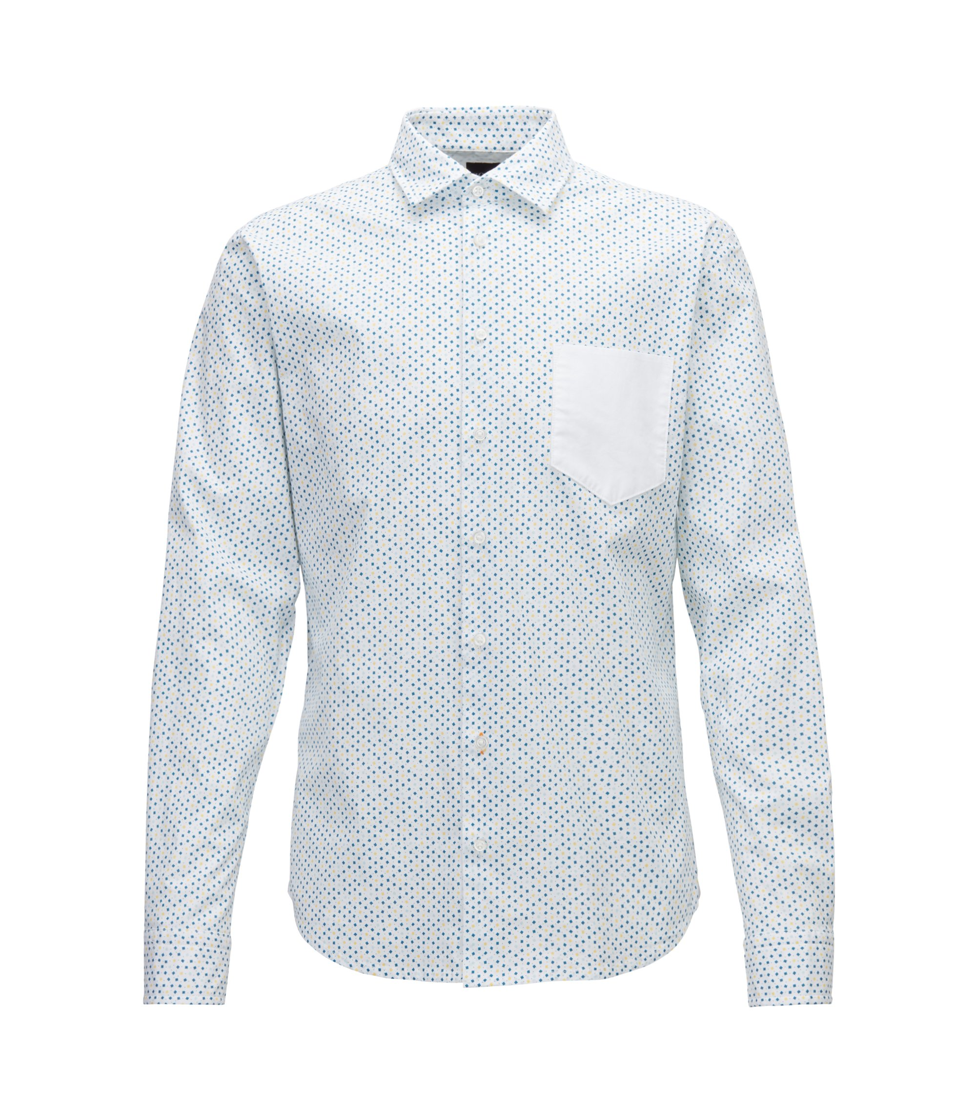Slim-fit shirt in stretch cotton with mini-geometric print, White