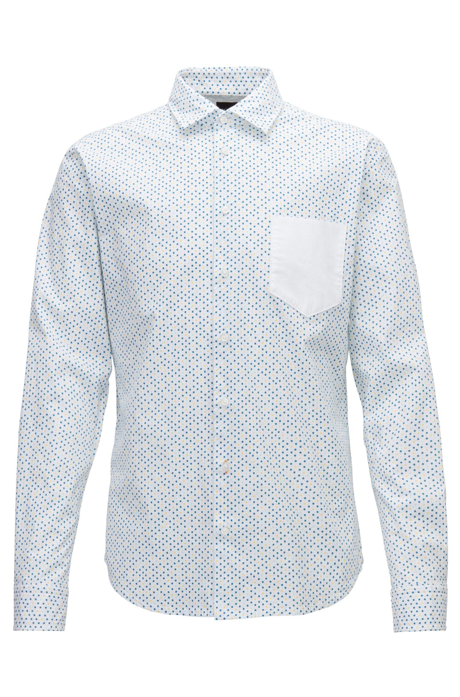Slim-Fit Hemd aus Stretch-Baumwolle mit geometrischem Print, Weiß