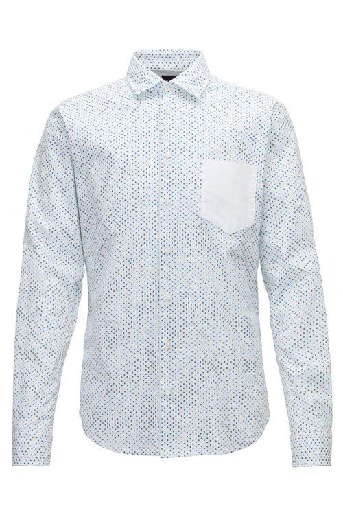 Hugo Boss - Slim-fit shirt in stretch cotton with mini-geometric print - 1