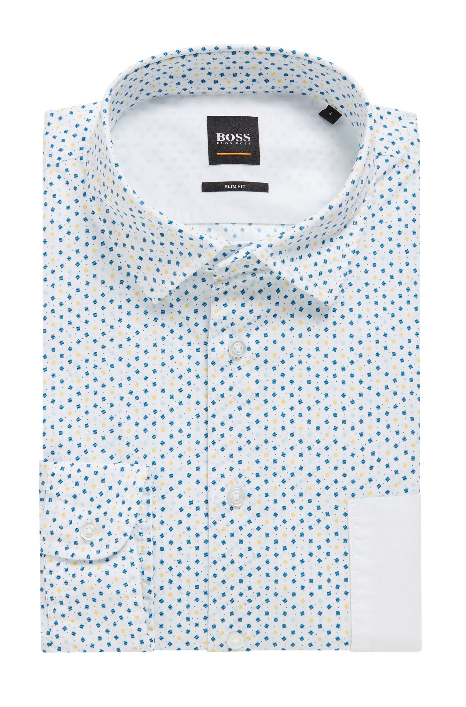 Hugo Boss - Slim-fit shirt in stretch cotton with mini-geometric print - 4