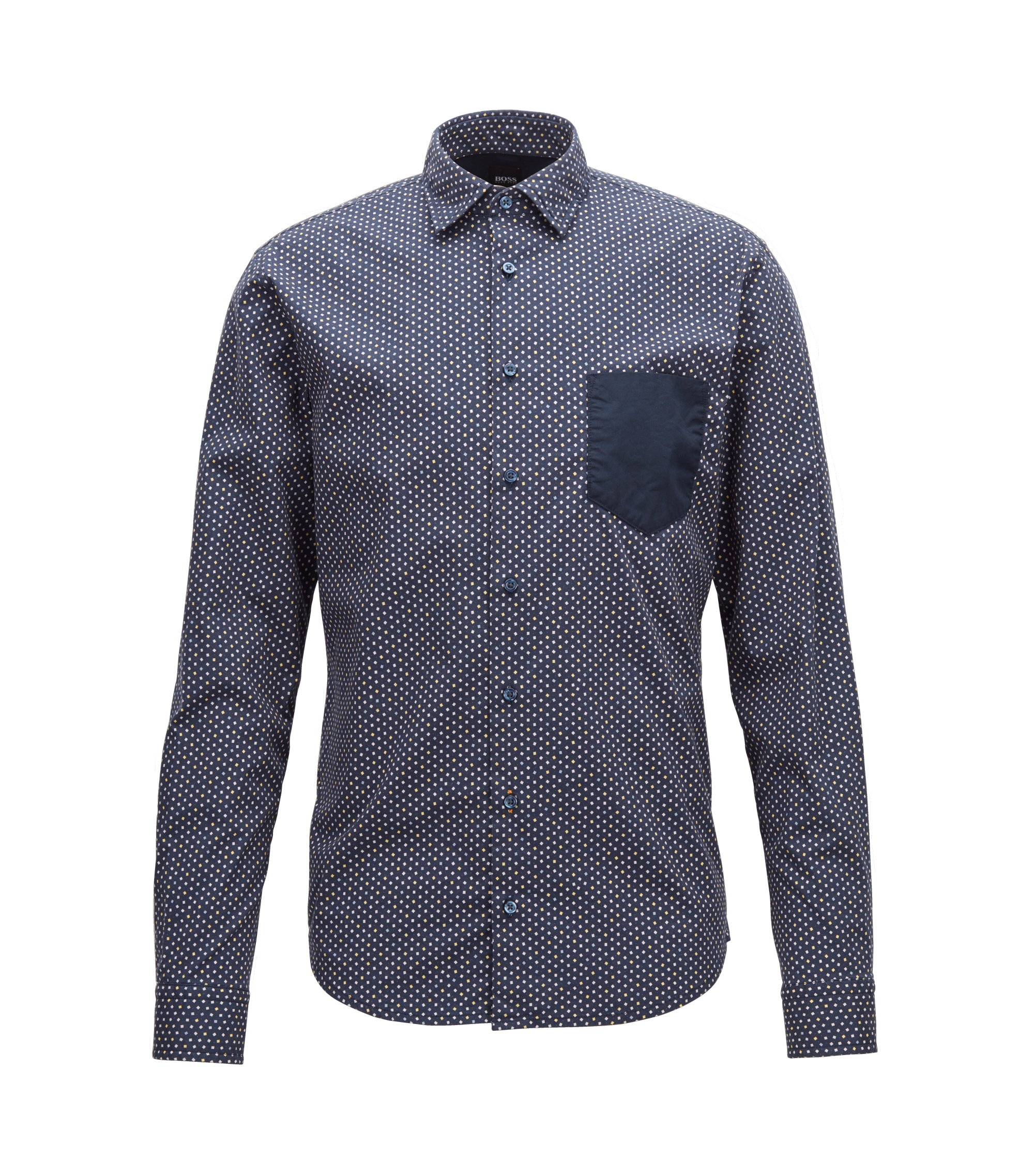 Slim-fit shirt in stretch cotton with mini-geometric print, Dark Blue