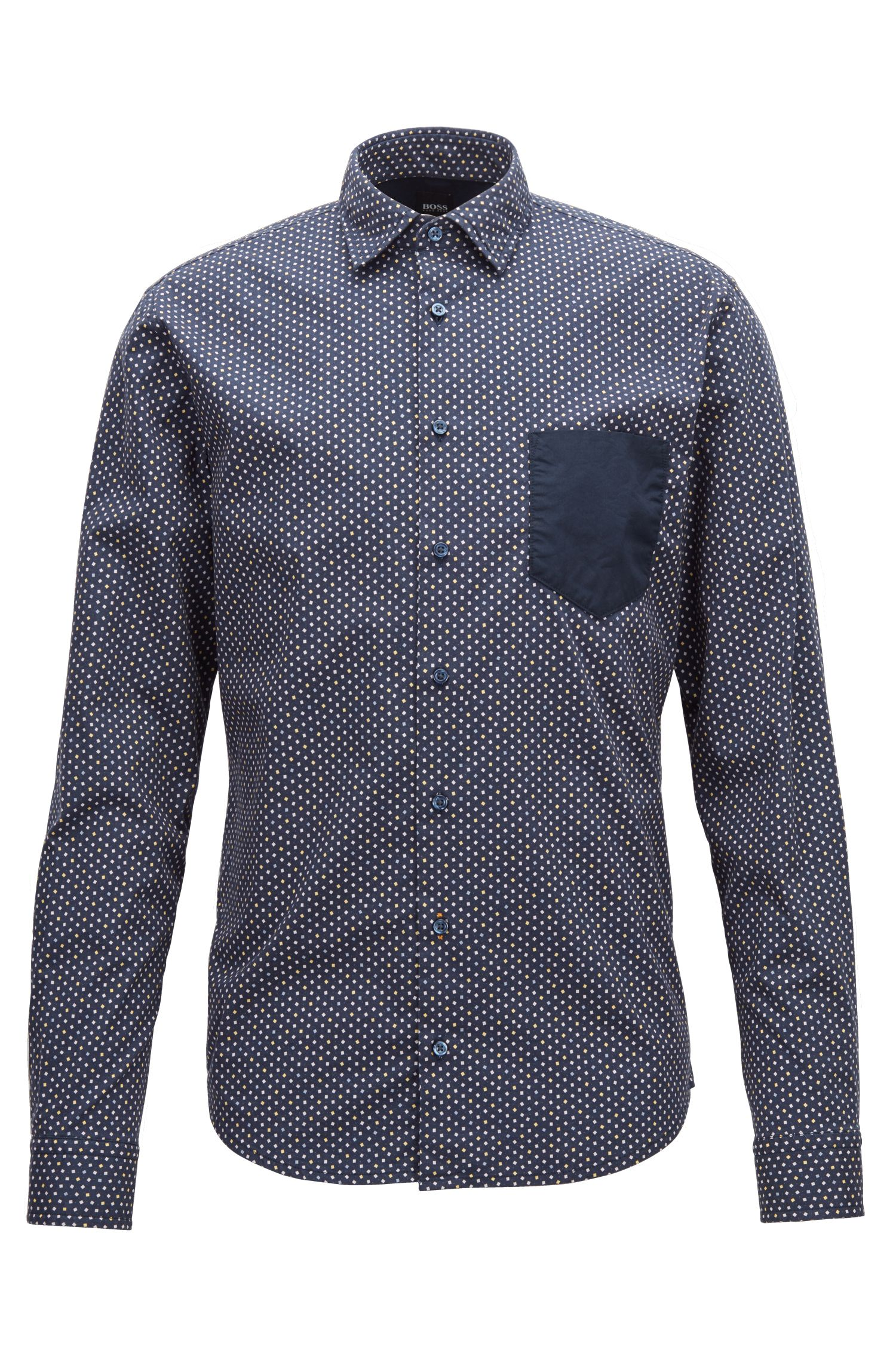 Hugo Boss - Slim-fit shirt in stretch cotton with mini-geometric print - 1