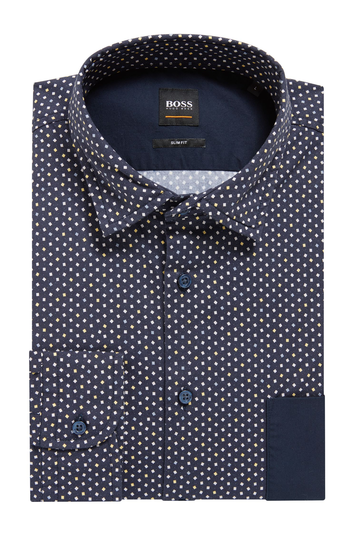 Slim-fit shirt in stretch cotton with mini-geometric print