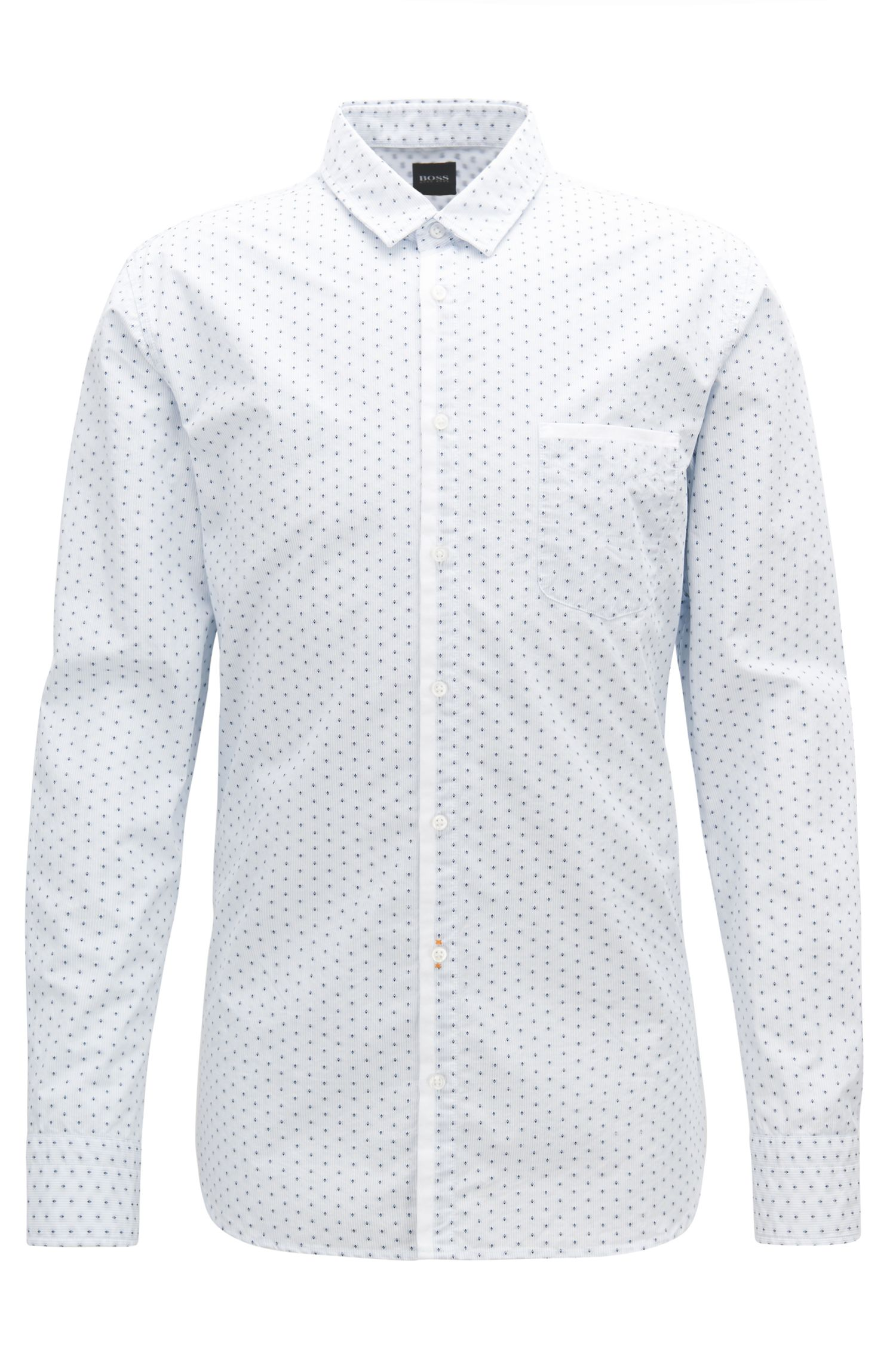 Slim-fit shirt in striped cotton with Oxford contrasts, White