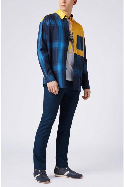 Hugo Boss - Kariertes Relaxed-Fit Hemd aus reiner Baumwolle mit gummiertem Einsatz - 2