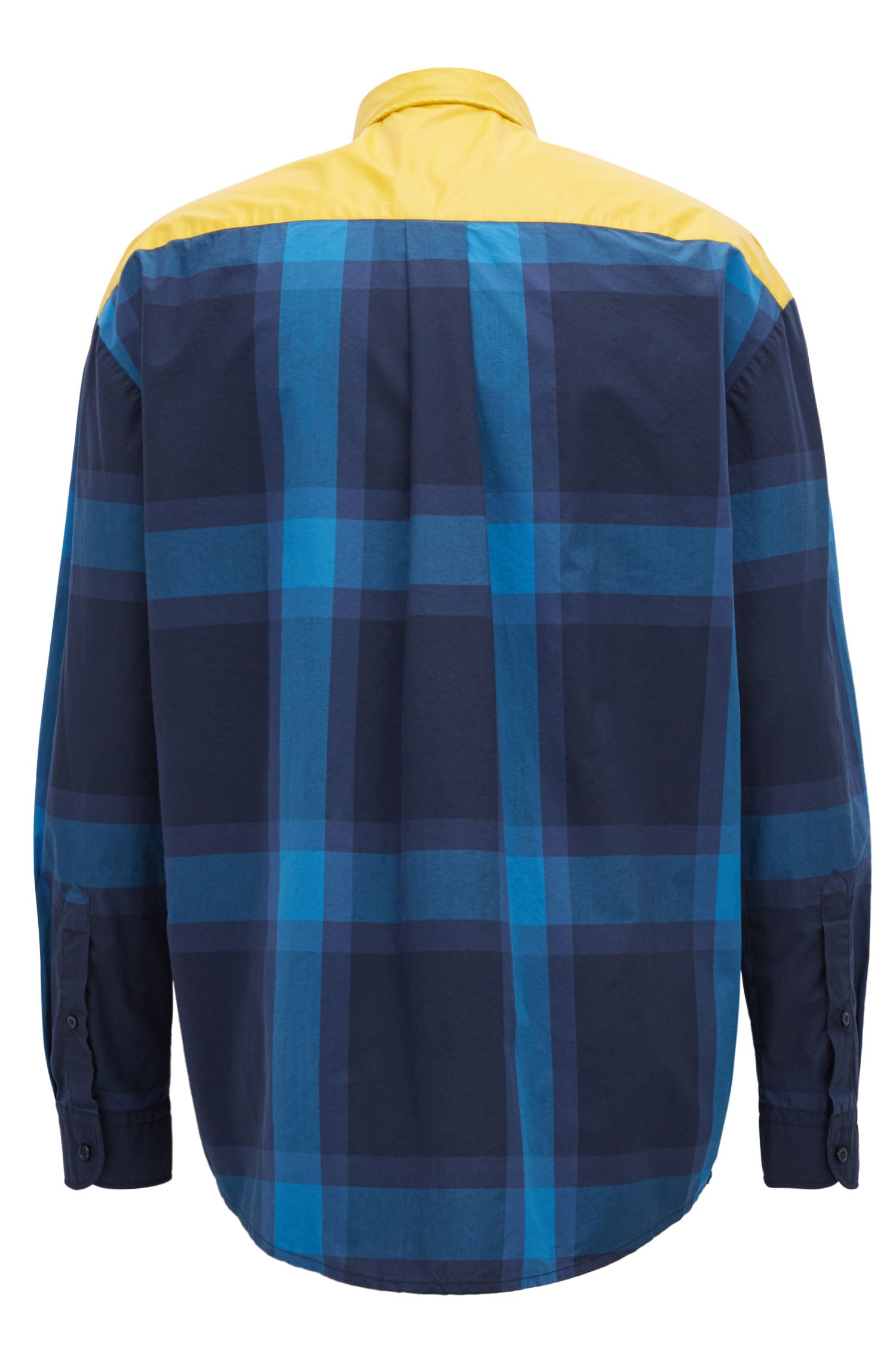 Checked shirt in pure cotton with rubber-print panel