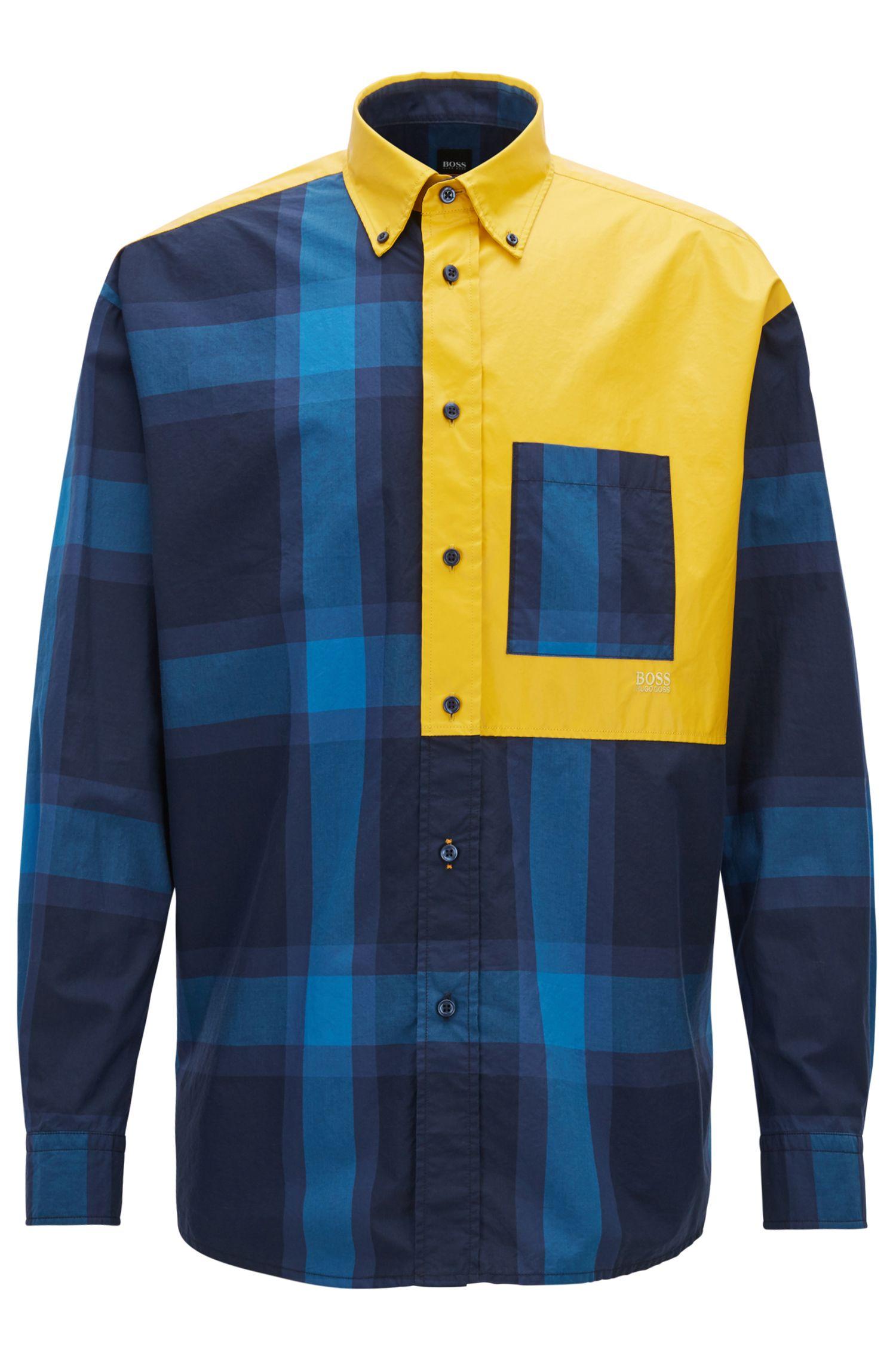 Chemise à carreaux en pur coton, avec empiècement à imprimé gommé, Bleu foncé