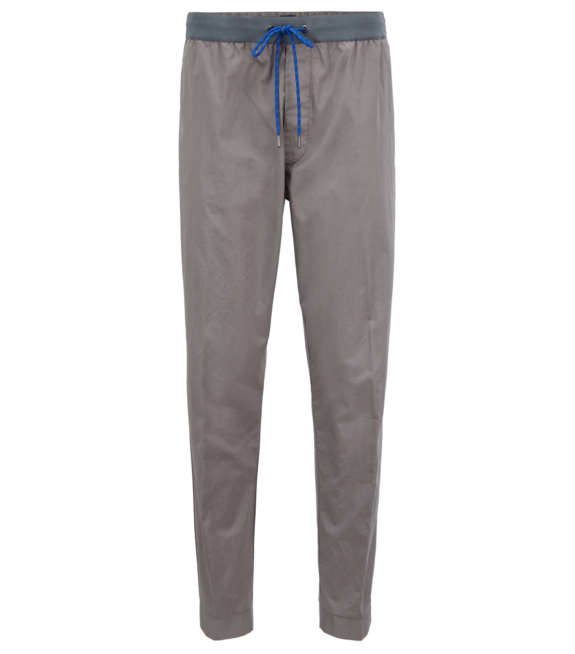 Chino Relaxed Fit en coton stretch avec taille à cordon de serrage, Gris chiné