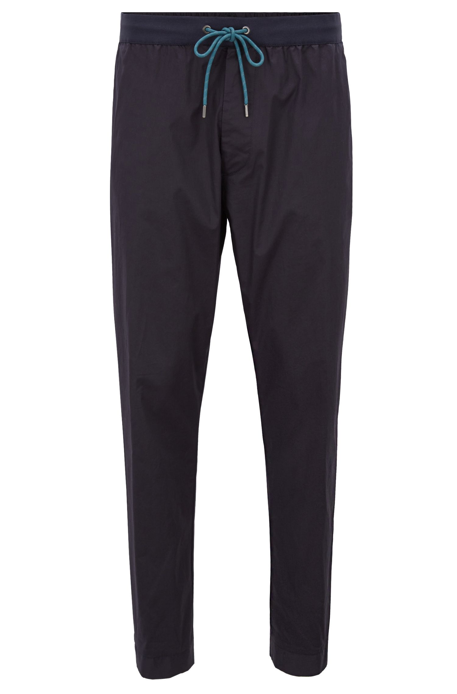 Relaxed-fit stretch-cotton chinos with drawstring waist, Dark Blue