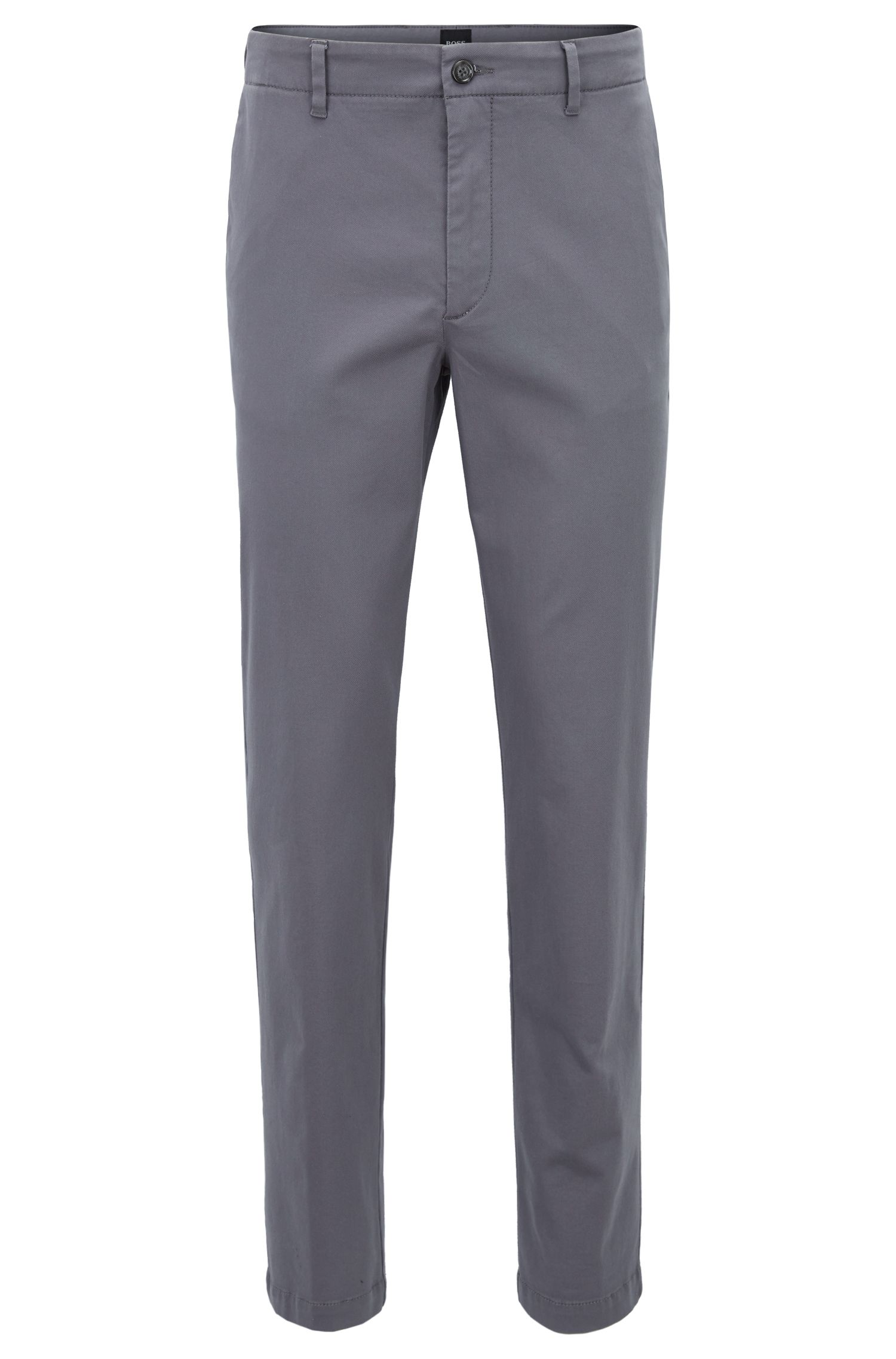 Slim-fit chinos with stripe-detail waistband, Open Grey