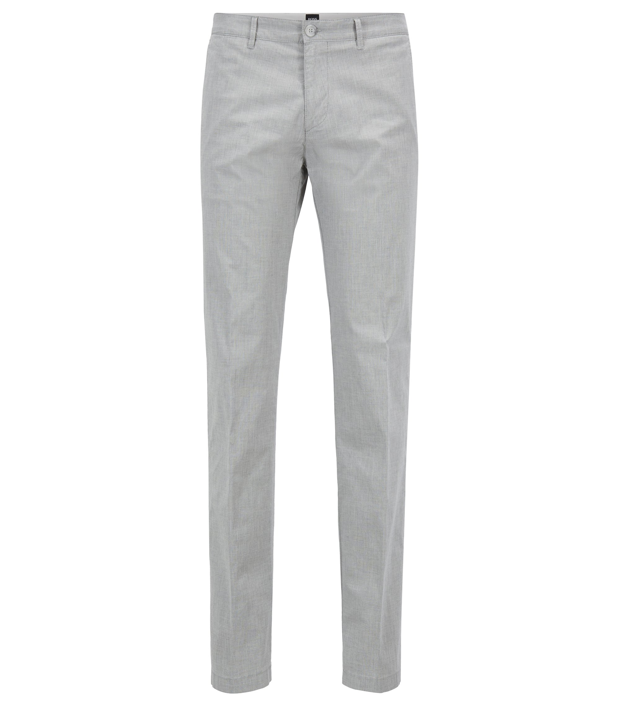 Regular-fit chinos in Italian melange stretch cotton, Light Grey