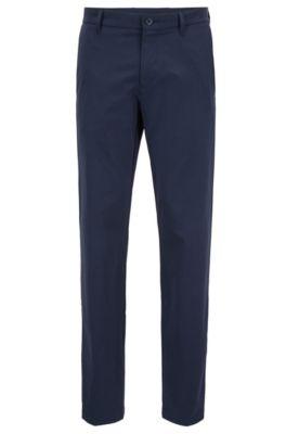 Pantalon imperméable Extra Slim Fit en tissu façonné stretch, Bleu foncé