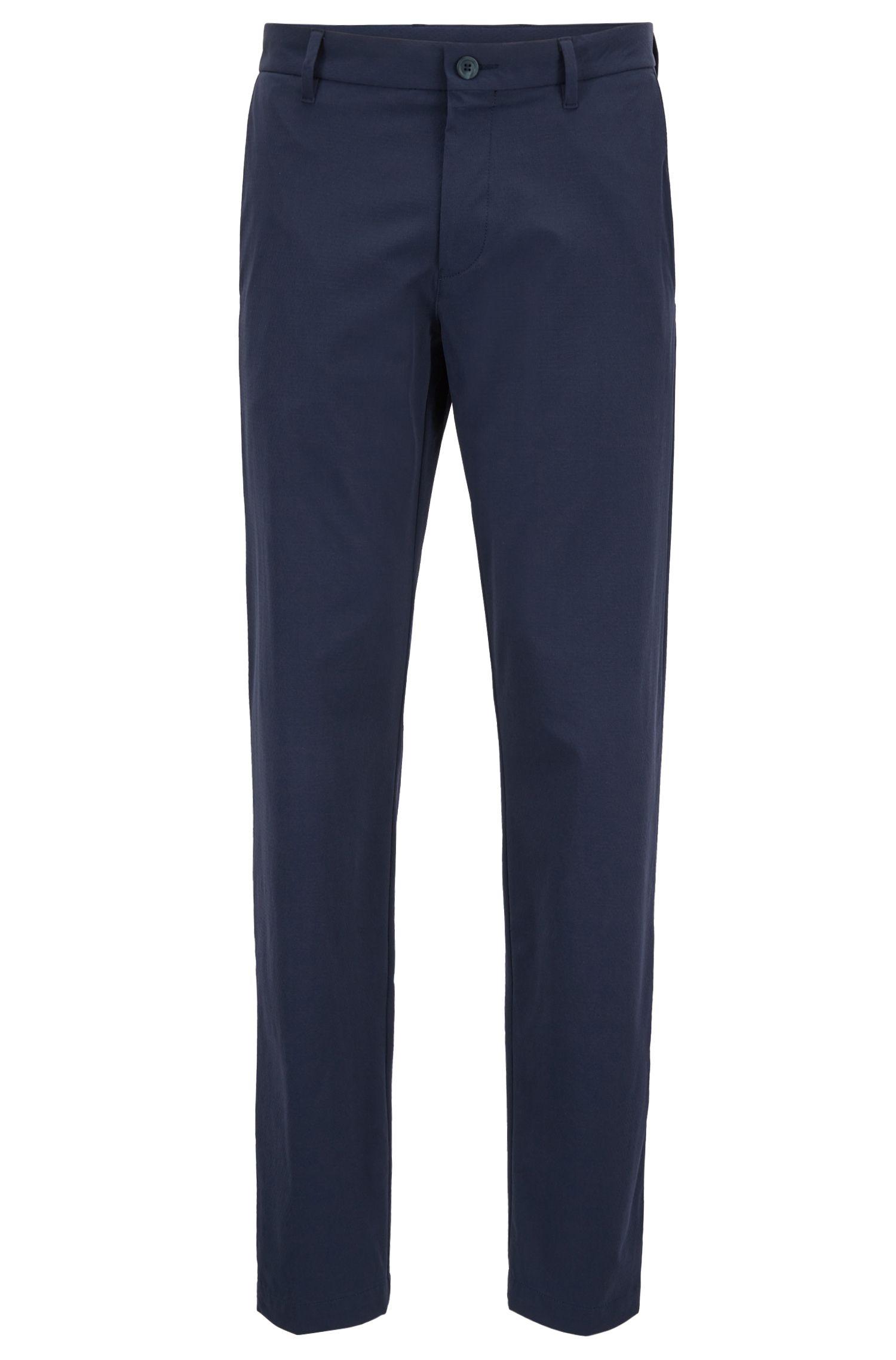 Pantaloni idrorepellenti extra slim fit in dobby elasticizzato, Blu scuro