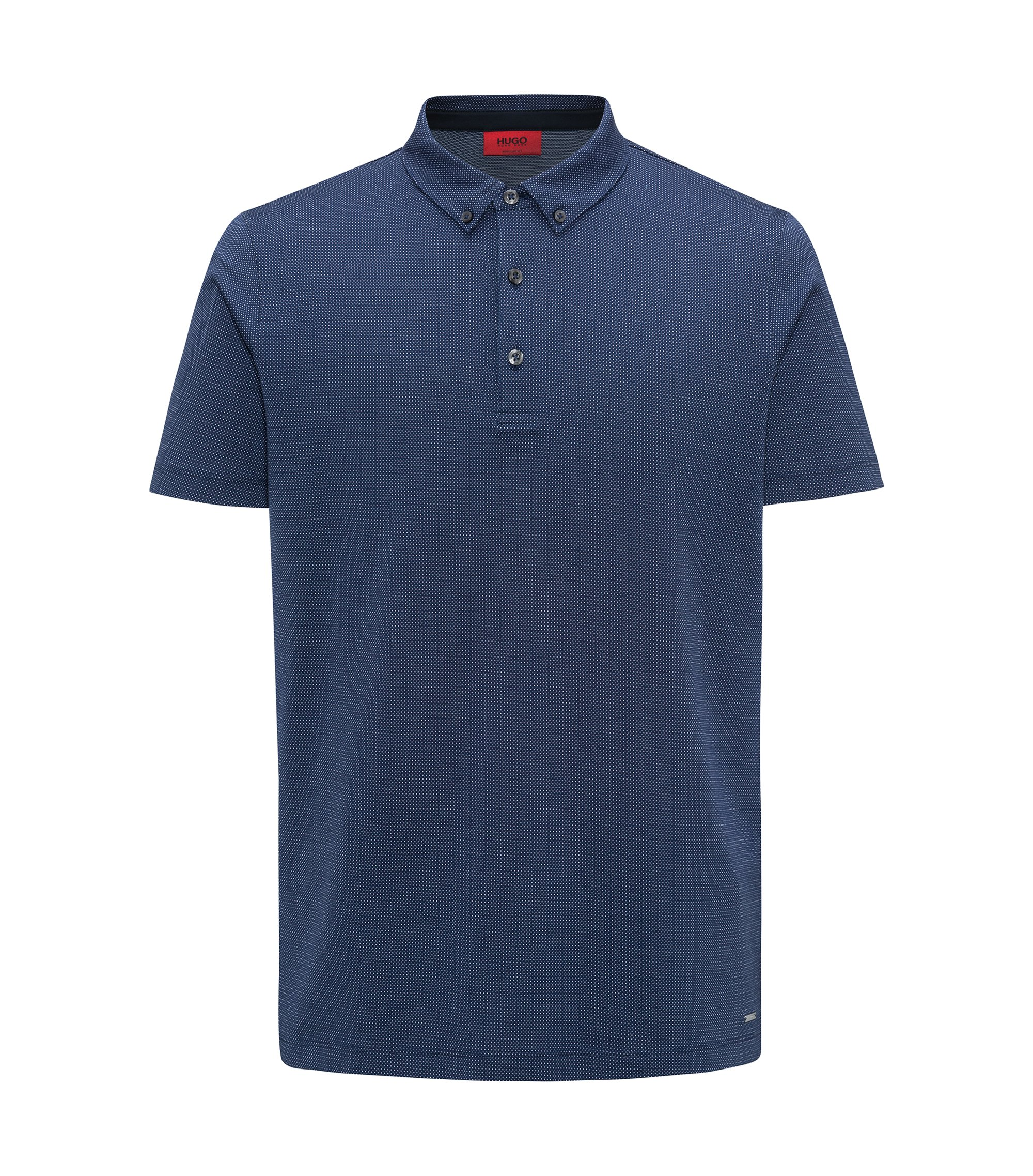Regular-fit polo shirt in mercerised micro jacquard, Dark Blue