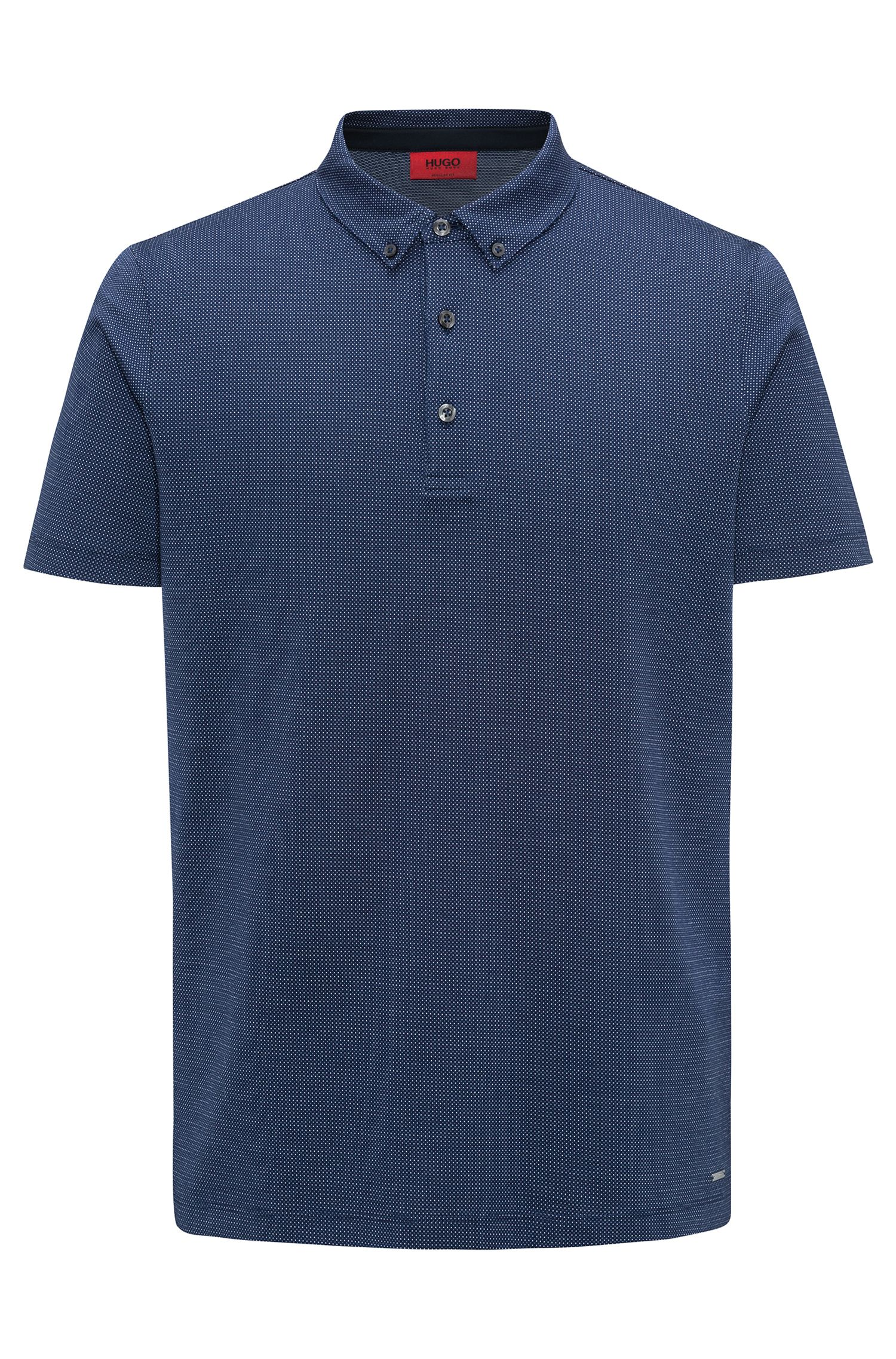 Polo regular fit in micro jacquard mercerizzato, Blu scuro