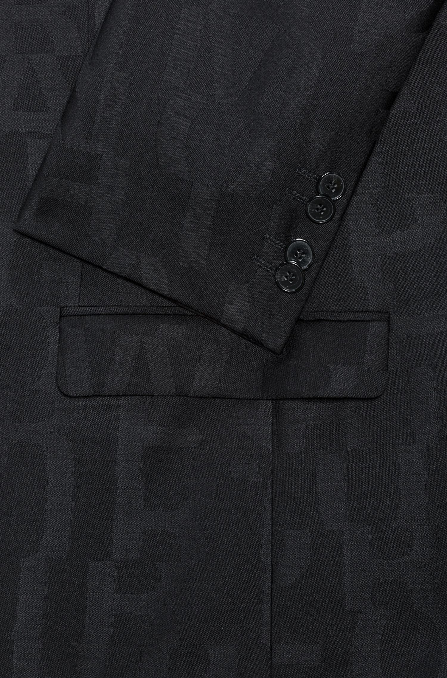 Extra-slim-fit virgin-wool suit with jacquard-woven artwork, Black