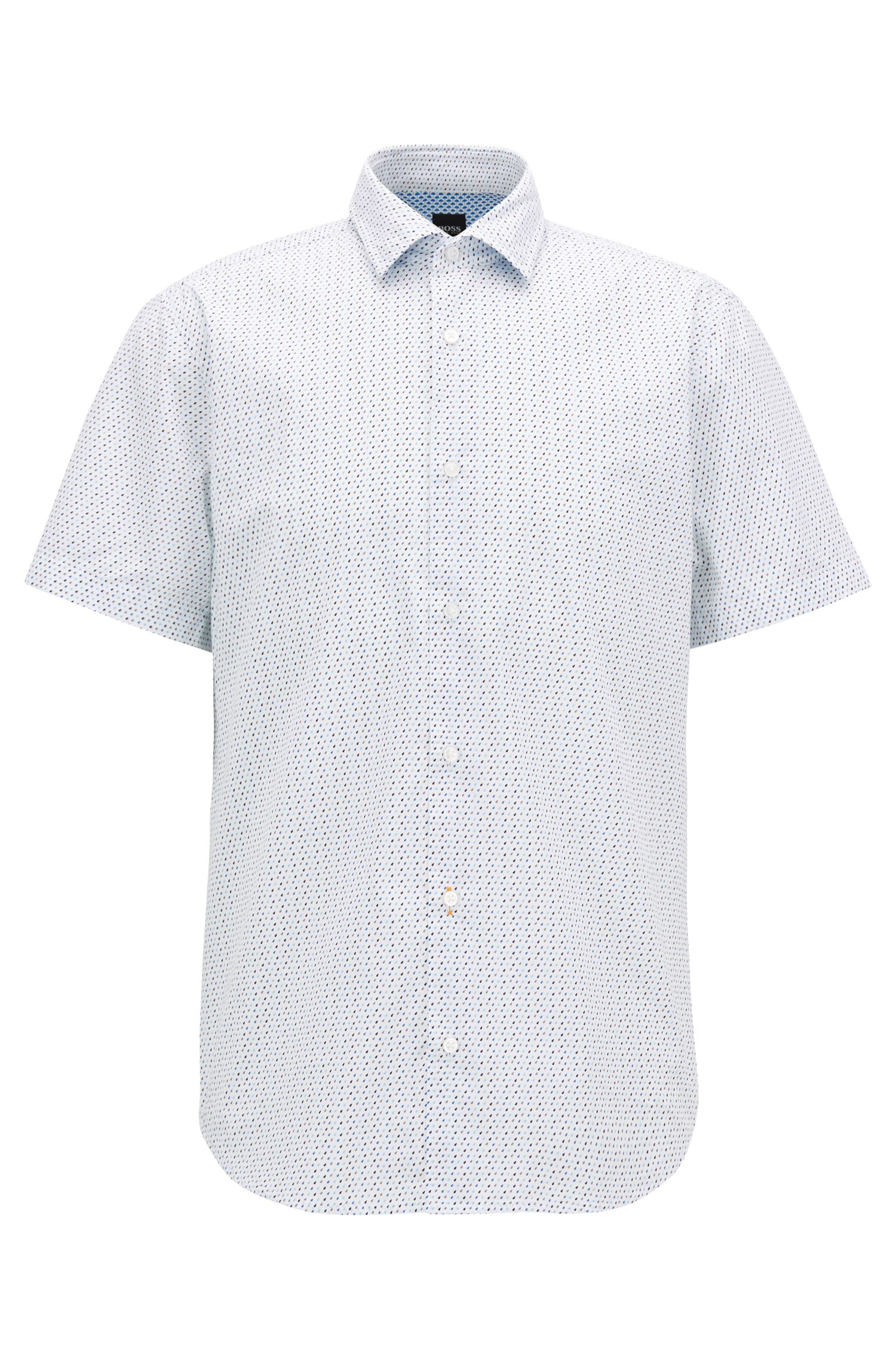 Regular-fit cotton shirt with micro geometric print