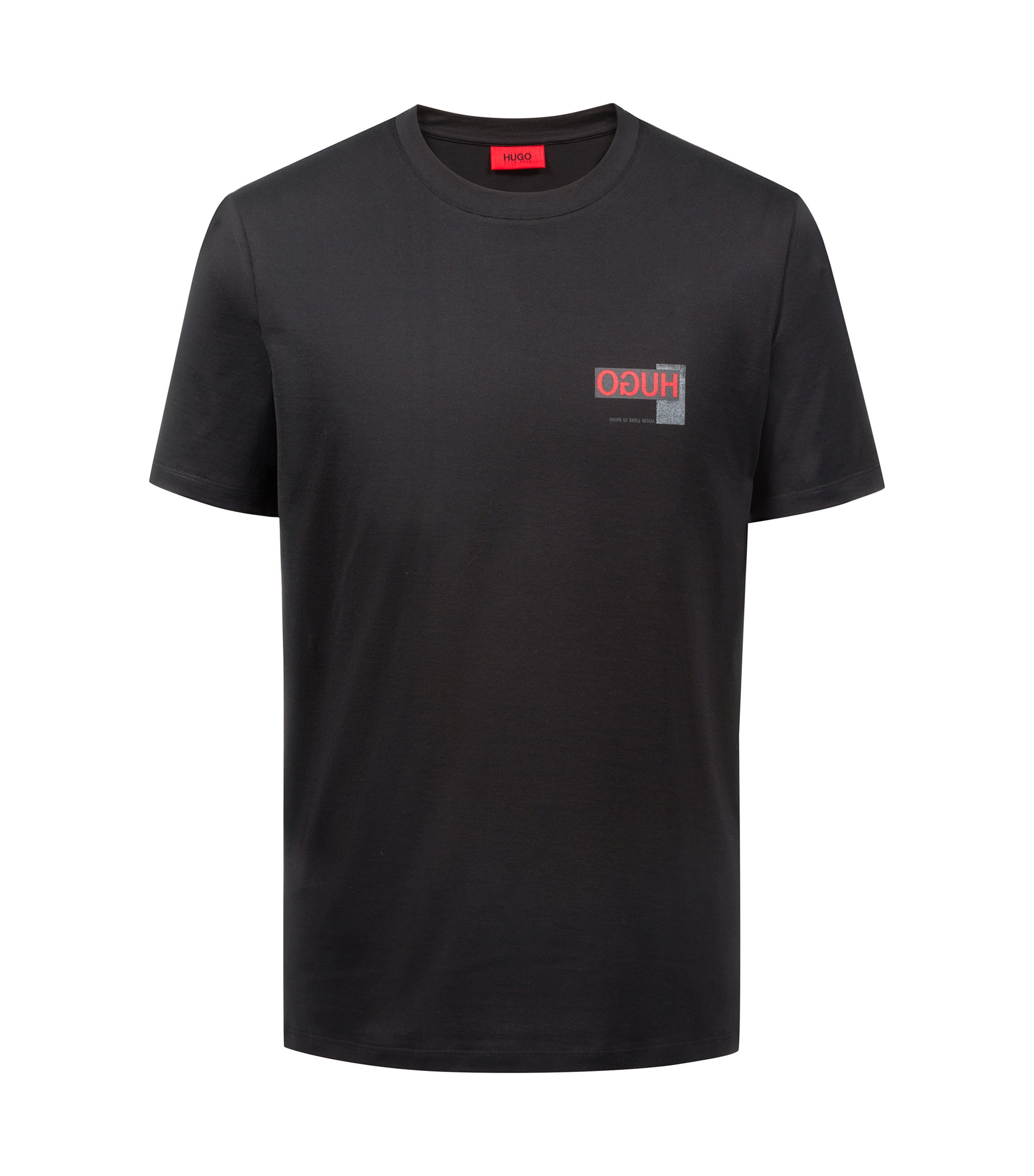 Oversized T-Shirt mit Reversed-Logo, Schwarz