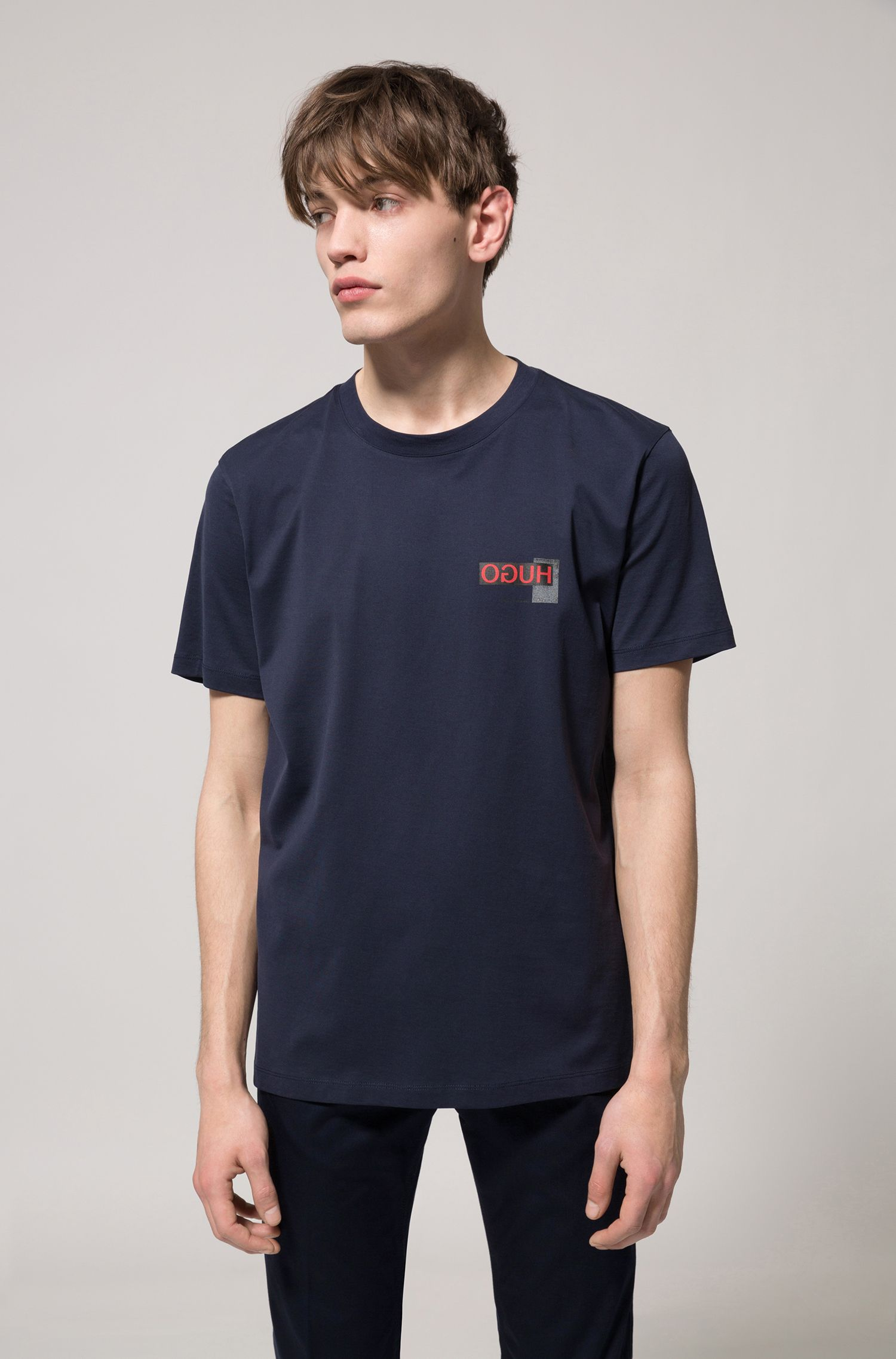 Oversized T-Shirt mit Reversed-Logo, Dunkelblau