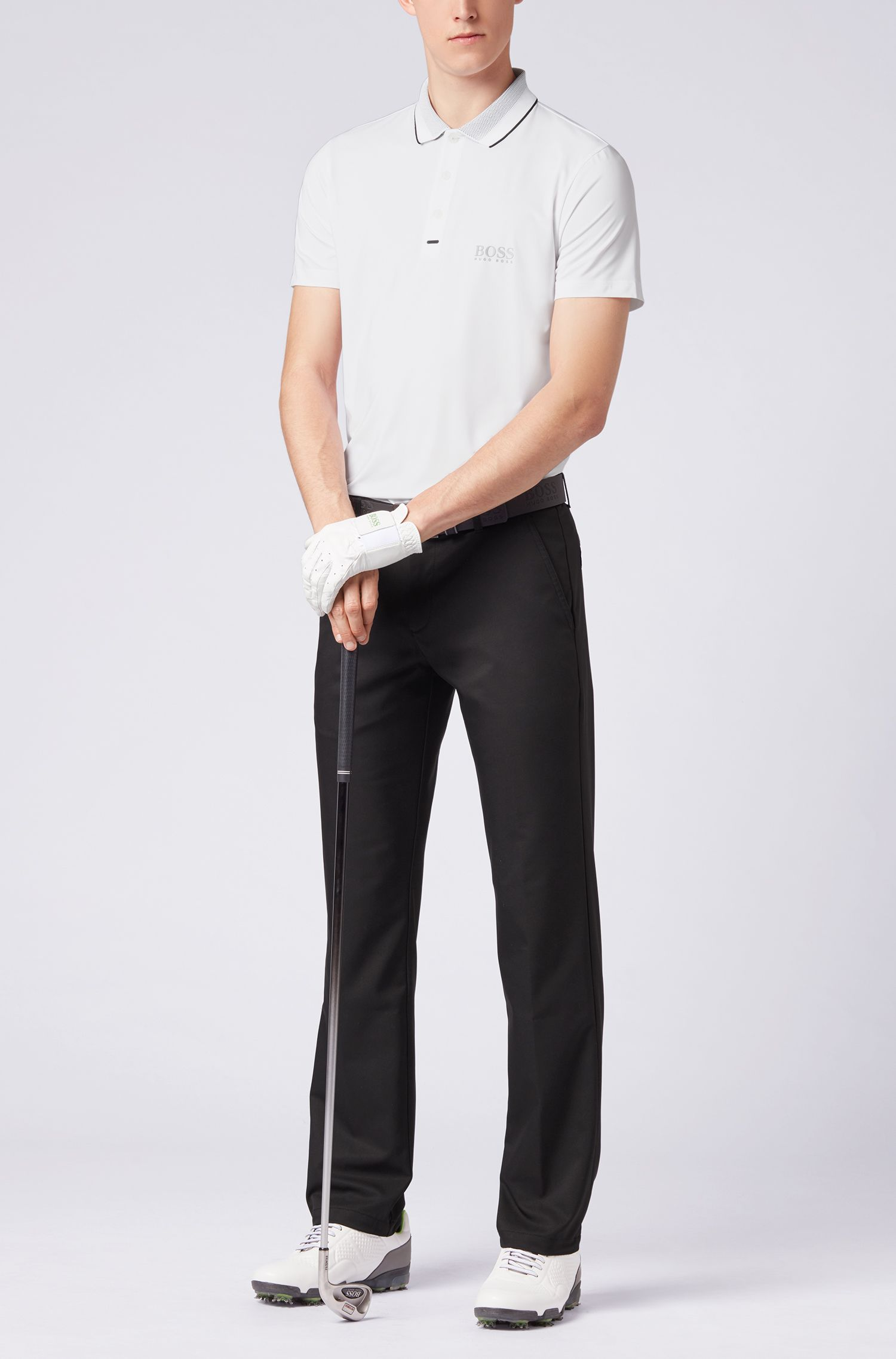 Slim-fit polo shirt in moisture-wicking stretch fabric