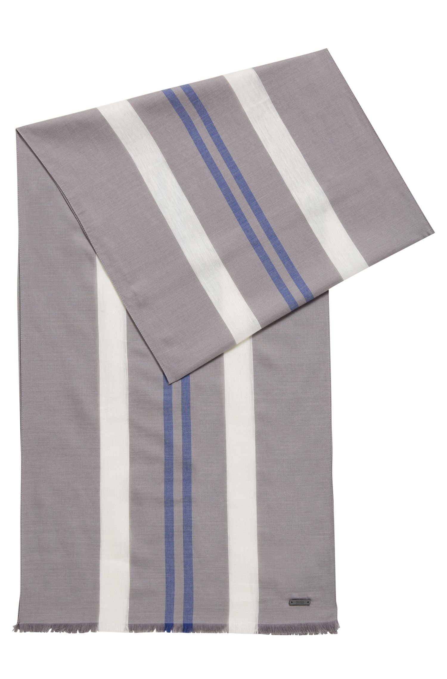 Lightweight scarf with vertical stripes, Grey