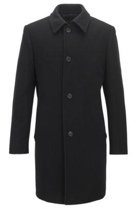 Manteau boutonné en laine mélangée, Noir