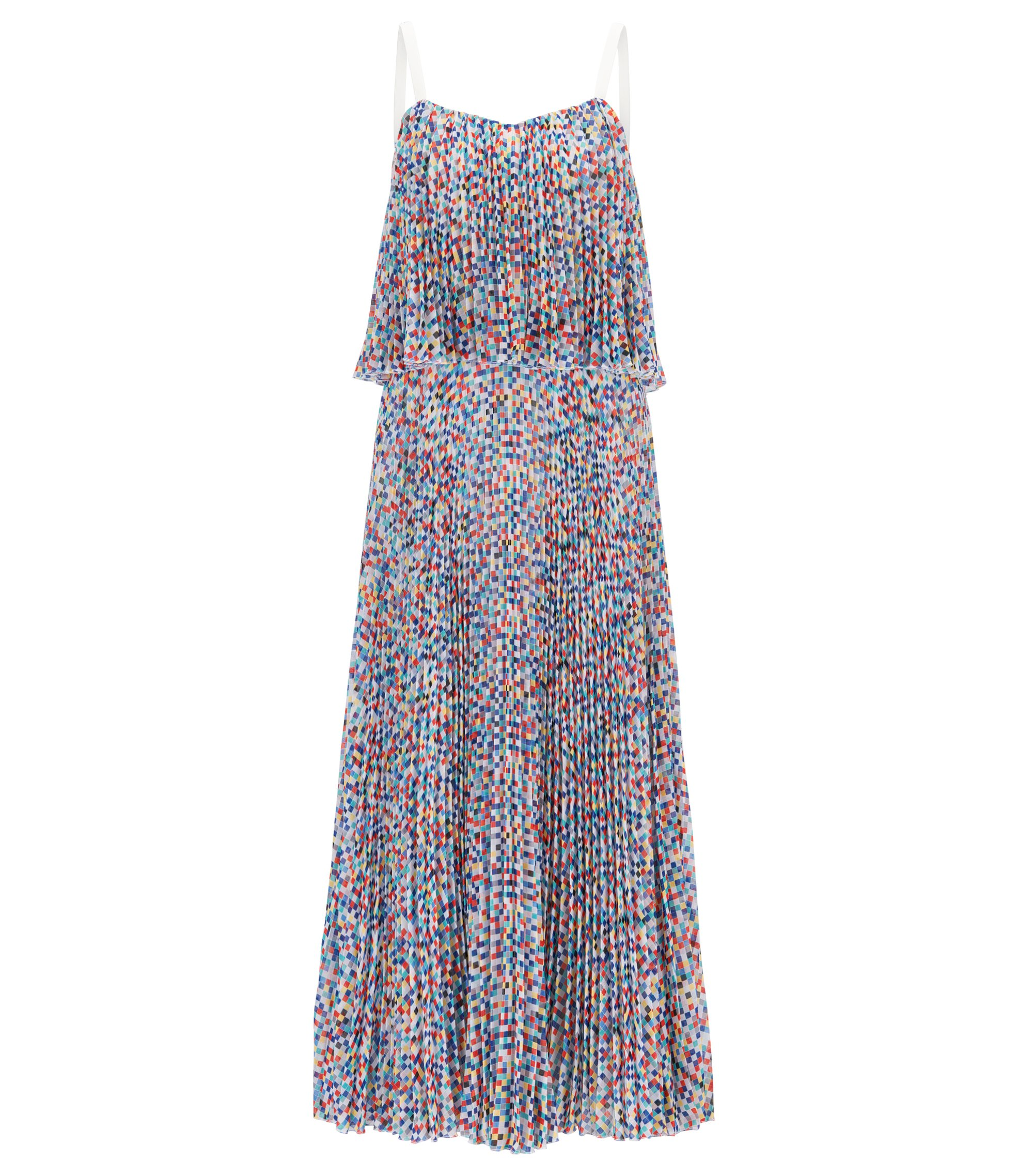 Gallery Collection layered dress with plissé skirt, Patterned