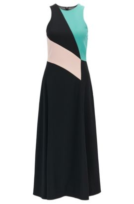 Gallery Collection colourblock dress in satinback crêpe, Patterned
