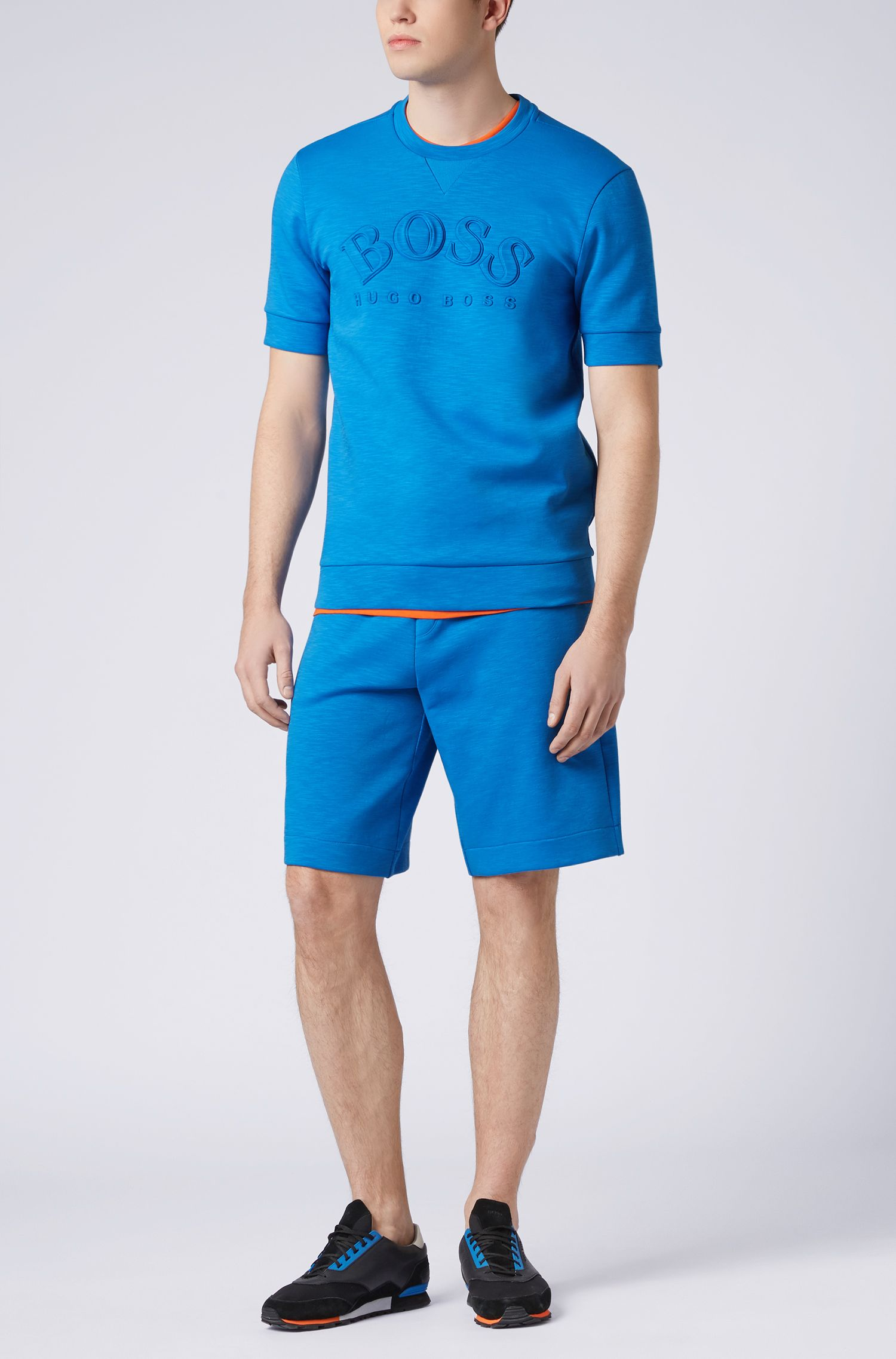 Relaxed-fit shorts in stretch-cotton-blend slub, Blue