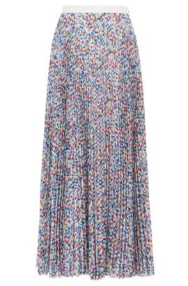 Gallery Collection plissé skirt with micro pattern, Patterned