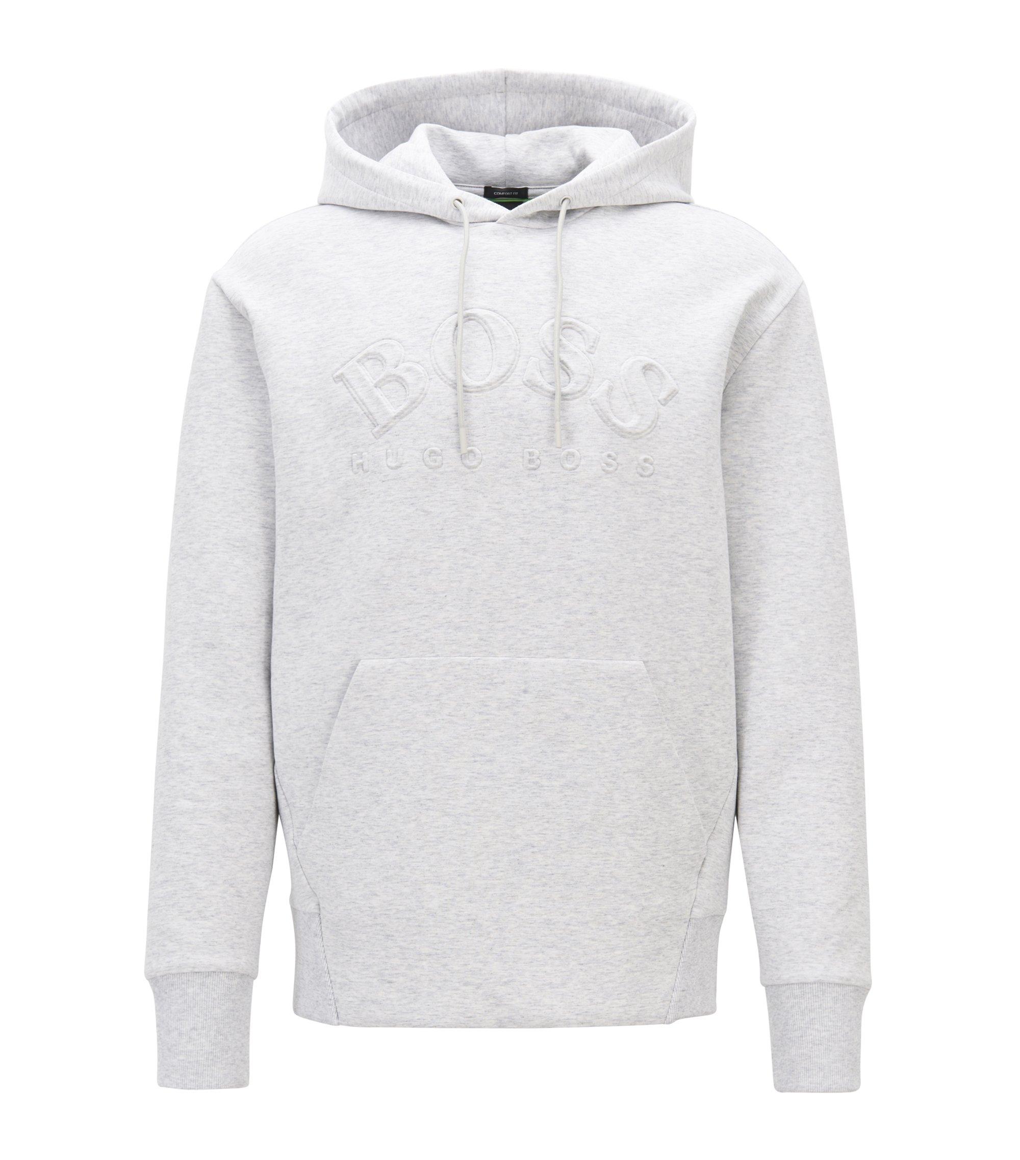 Kapuzen-Sweatshirt aus elastischem Baumwoll-Mix mit Logo-Prägung, Hellgrau