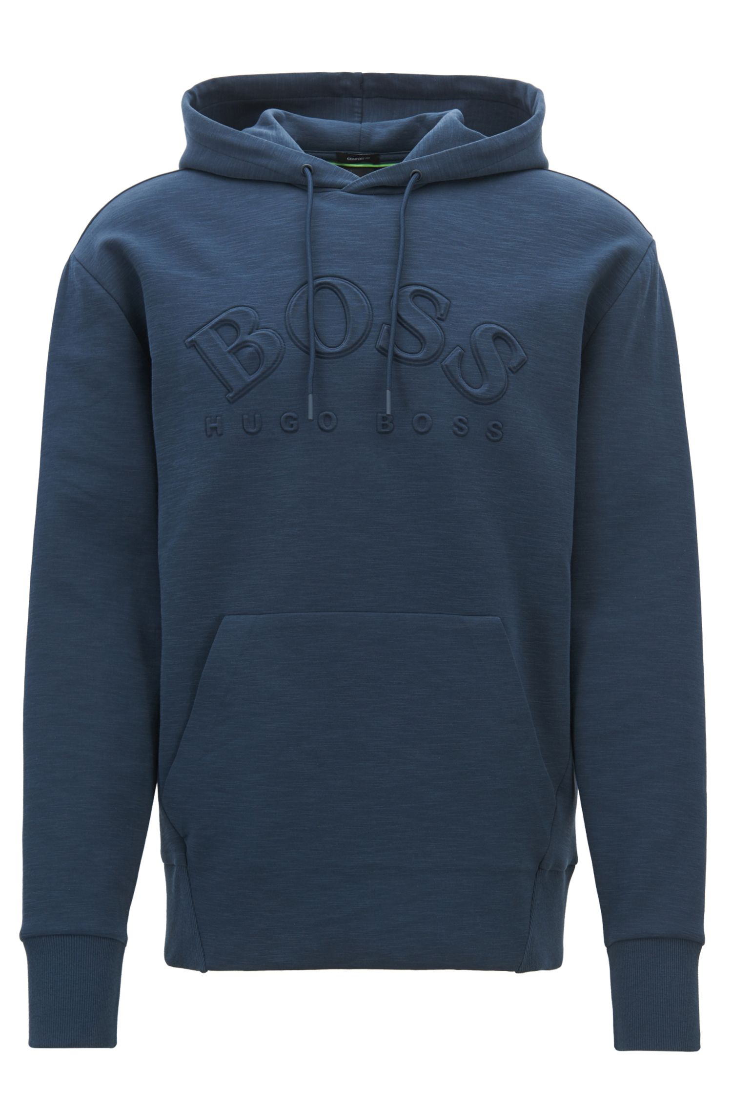 Hooded sweatshirt in stretch-cotton blend with embossed logo, Dark Blue