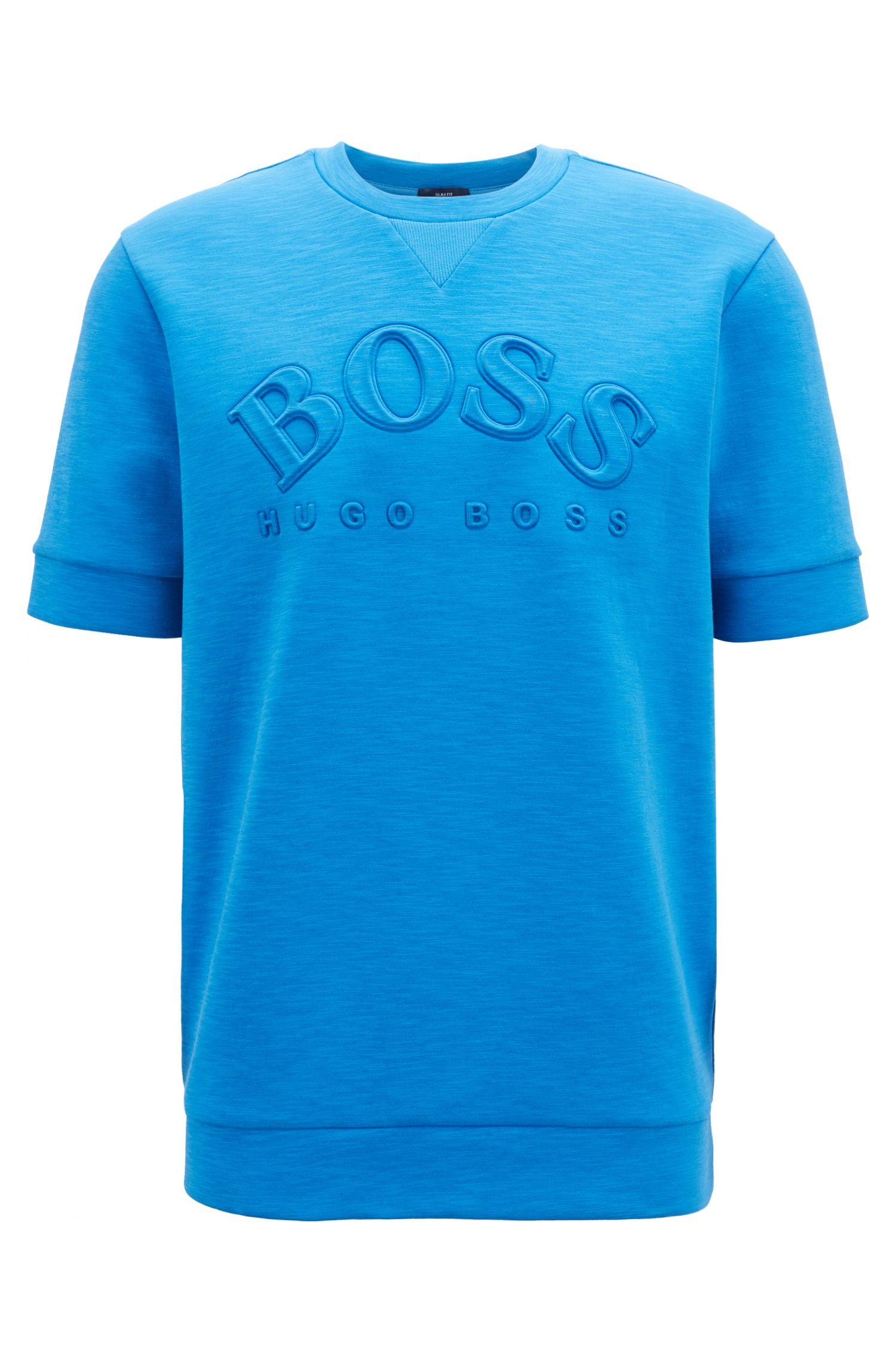Hugo Boss - Sweatshirt aus Baumwoll-Mix mit kurzen Ärmeln und Logo-Prägung - 1