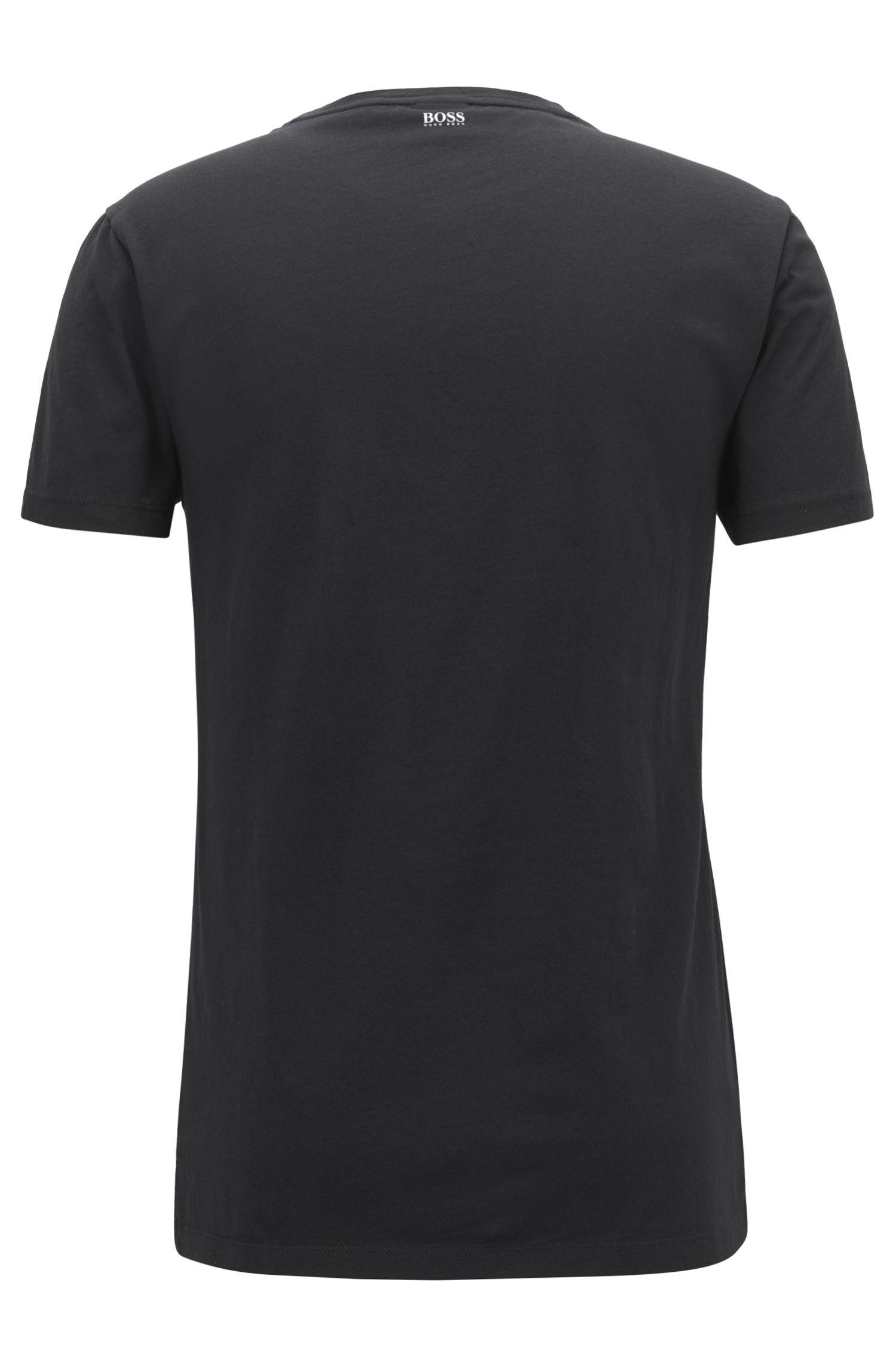 T-shirt van gewassen katoen met Big Ben-print, Zwart