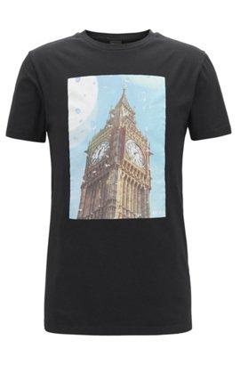 Washed cotton T-shirt with Big Ben print, Black