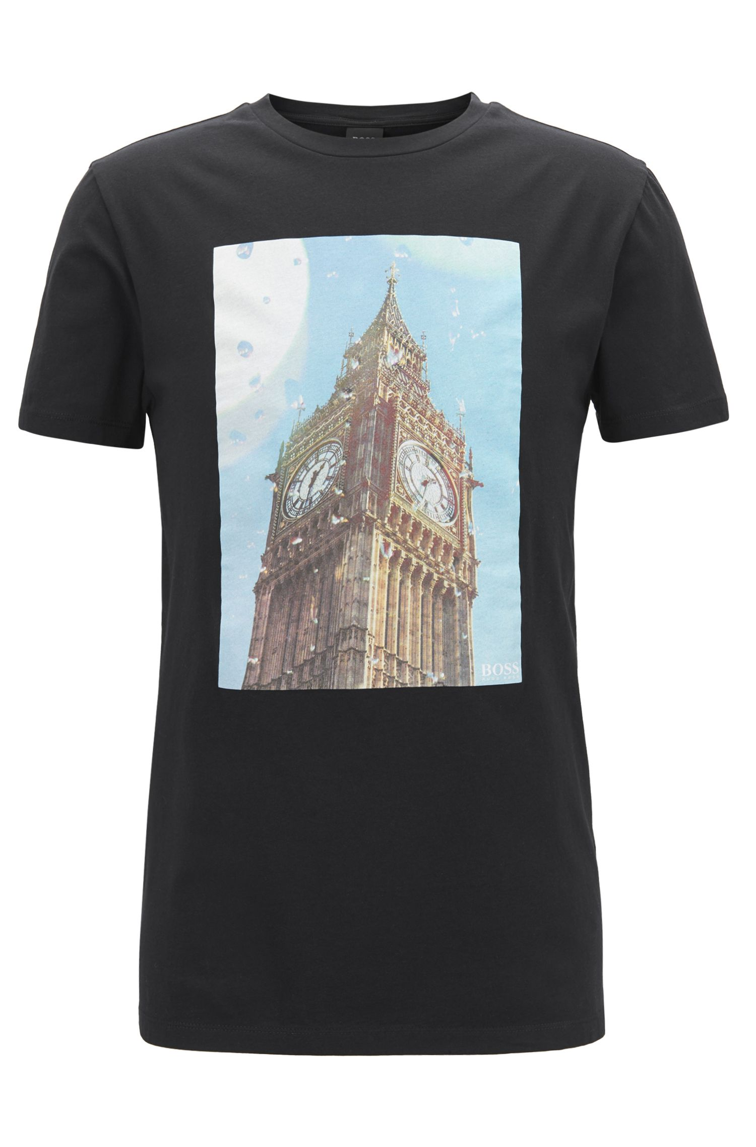 Washed cotton T-shirt with Big Ben print, Black