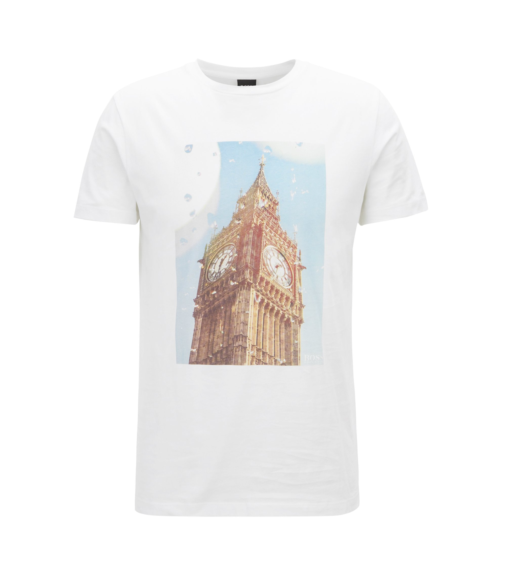 Camiseta de algodón lavado con la imagen del Big Ben estampada, Blanco