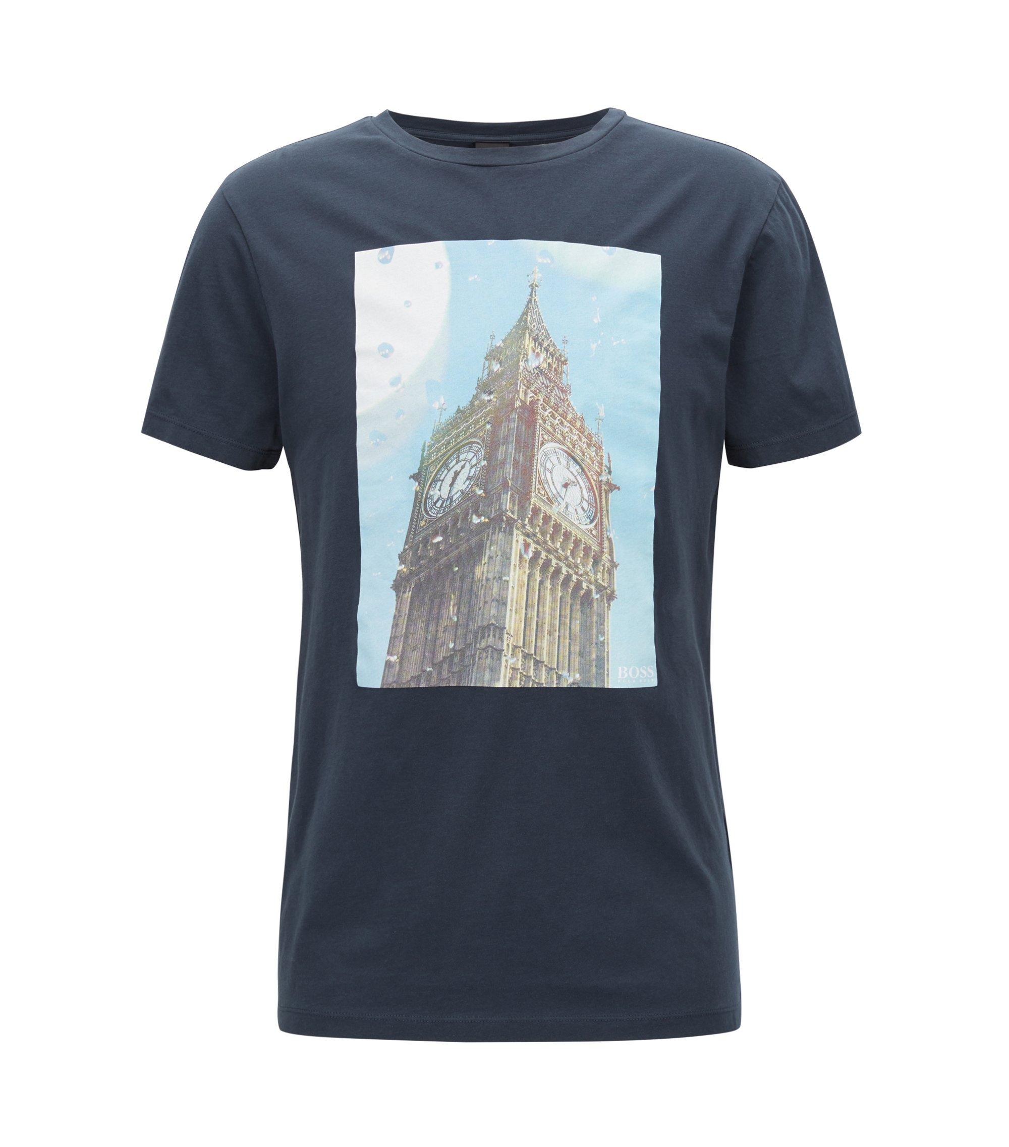 T-Shirt aus gewaschener Baumwolle mit Big-Ben-Print, Dunkelblau