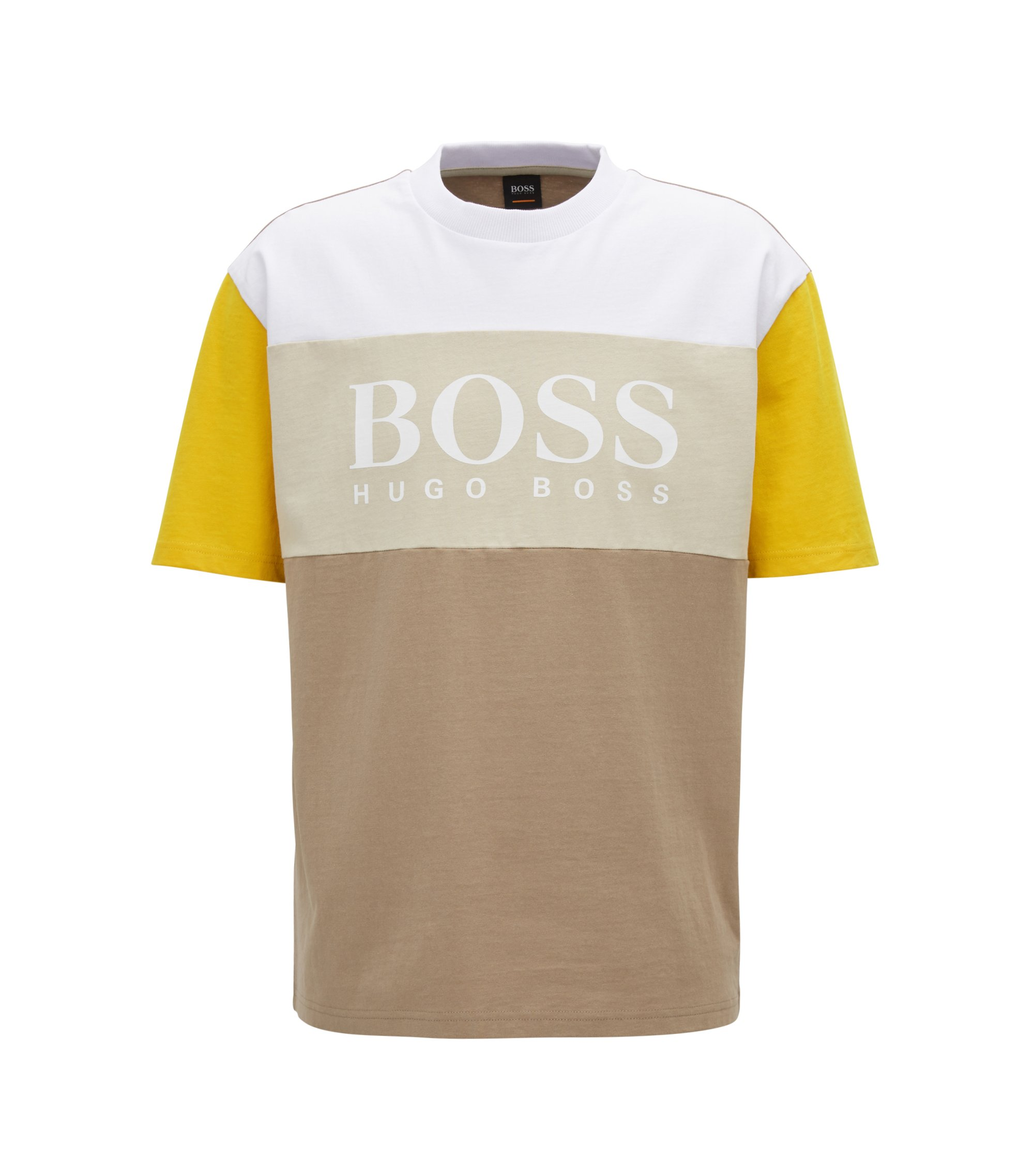 Boxy fit logo T-shirt in colour-block cotton, Beige