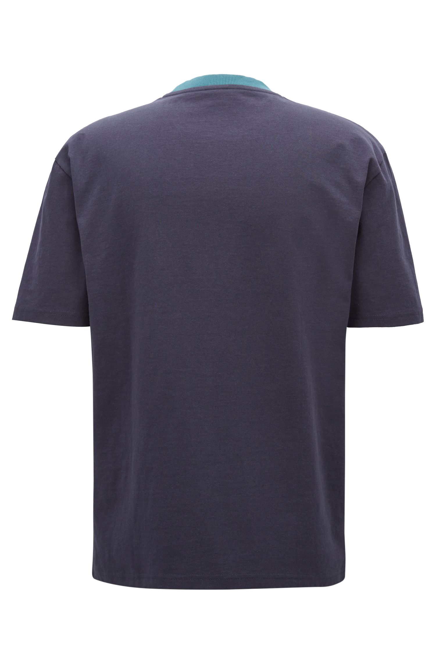 Boxy fit logo T-shirt in colour-block cotton, Dark Blue
