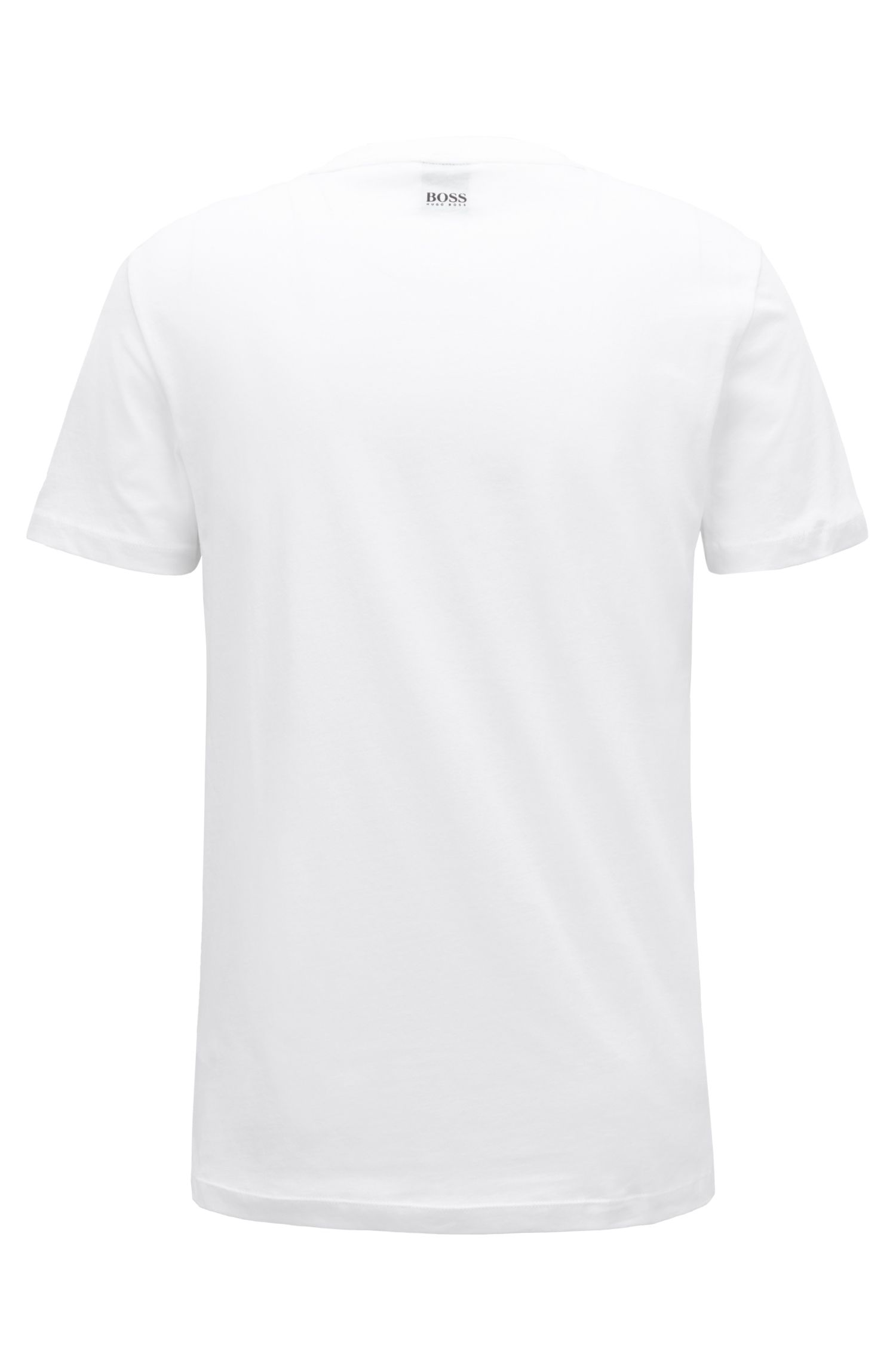 Mixed graphic-print T-shirt in washed cotton, White